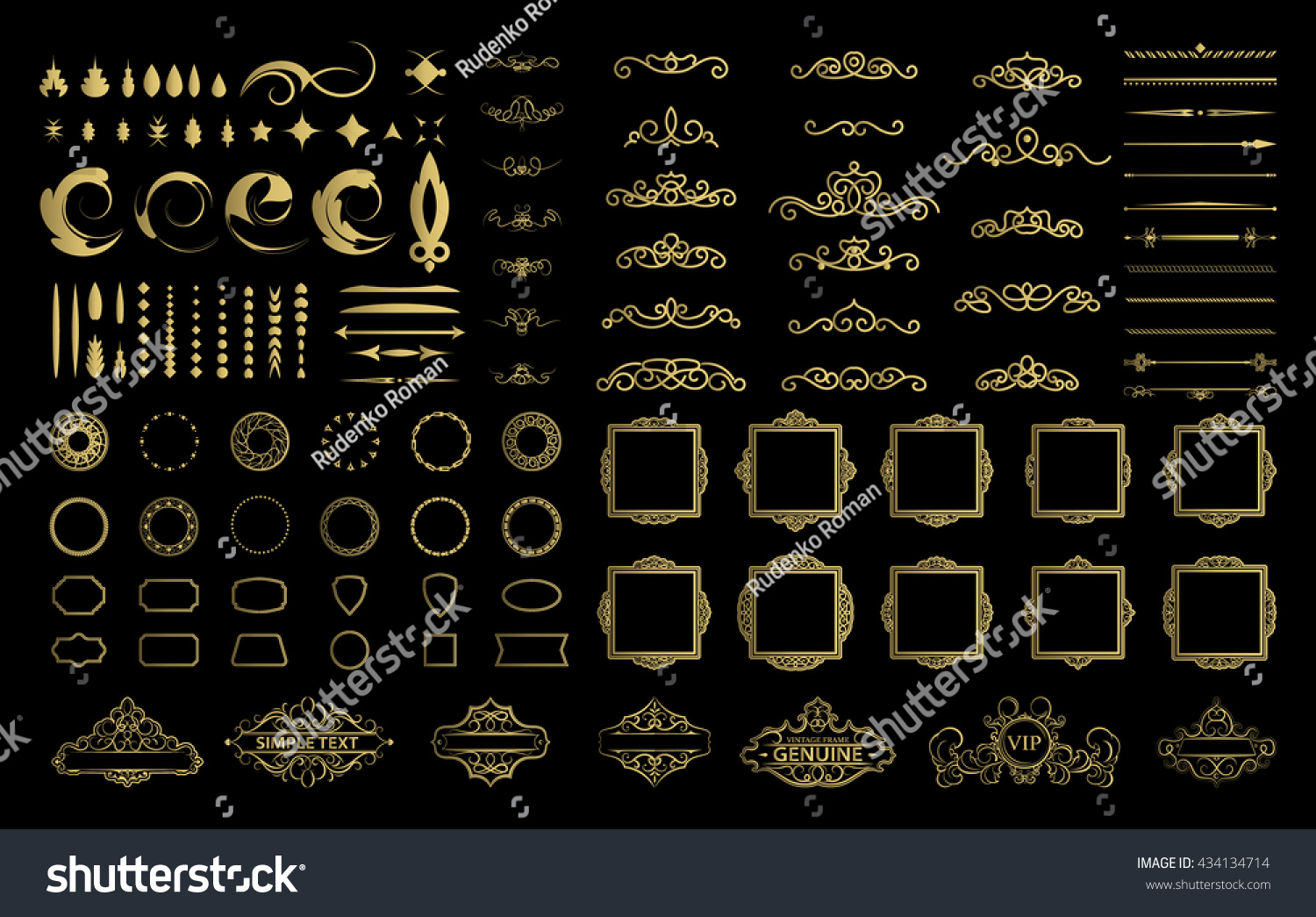 Wicker lines and decor elements in vector Vintage borders frame collection in gold color Retro page decoration Decoration for logos wedding album or restaurant menu Calligraphic design elements