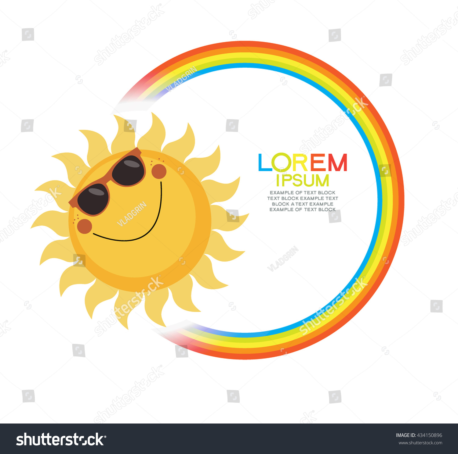 Summer Background With Sun Rainbow And Text Blank Template File Is Saved In
