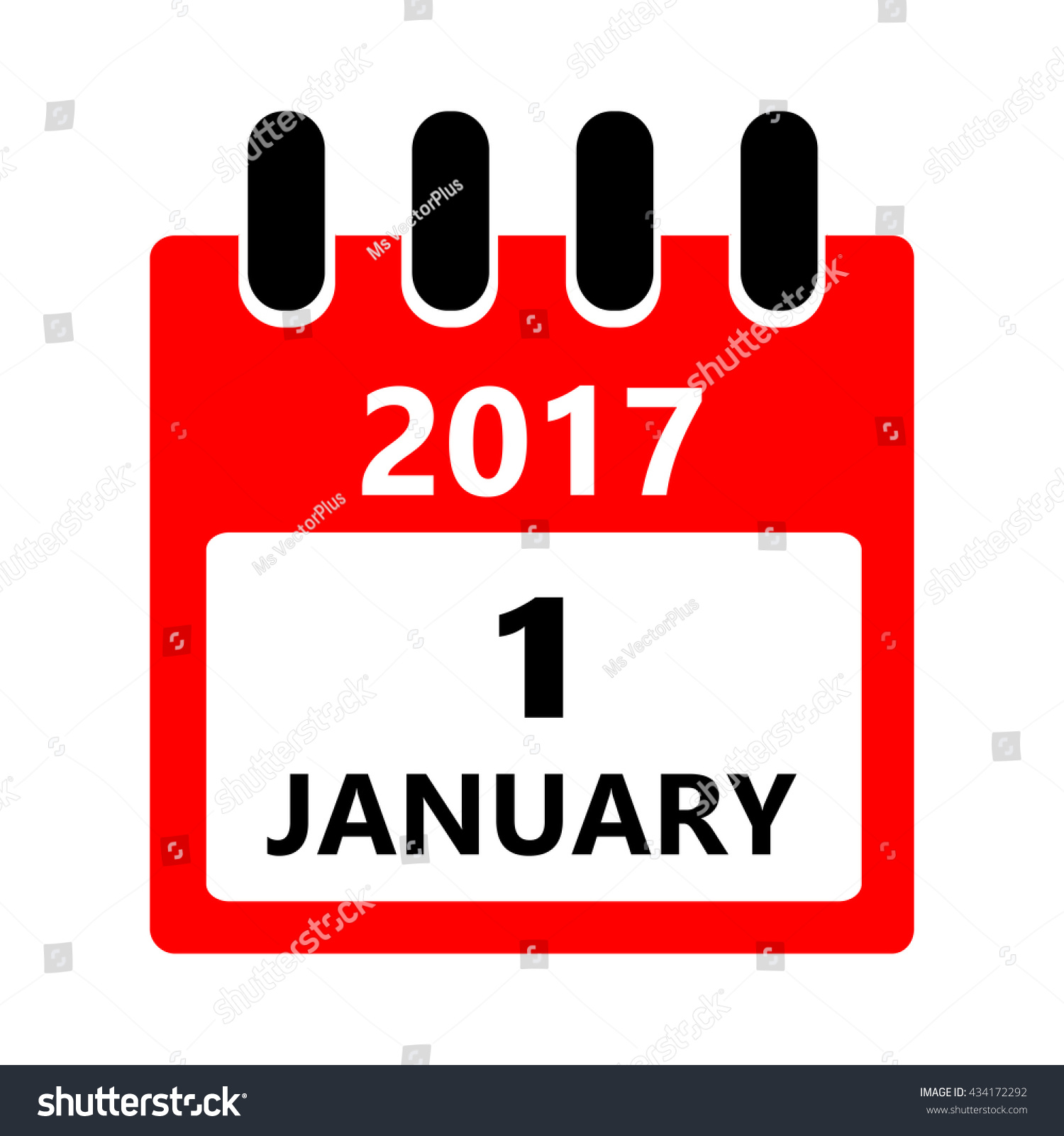january 1 vector flat daily calendar のベクター画像素材