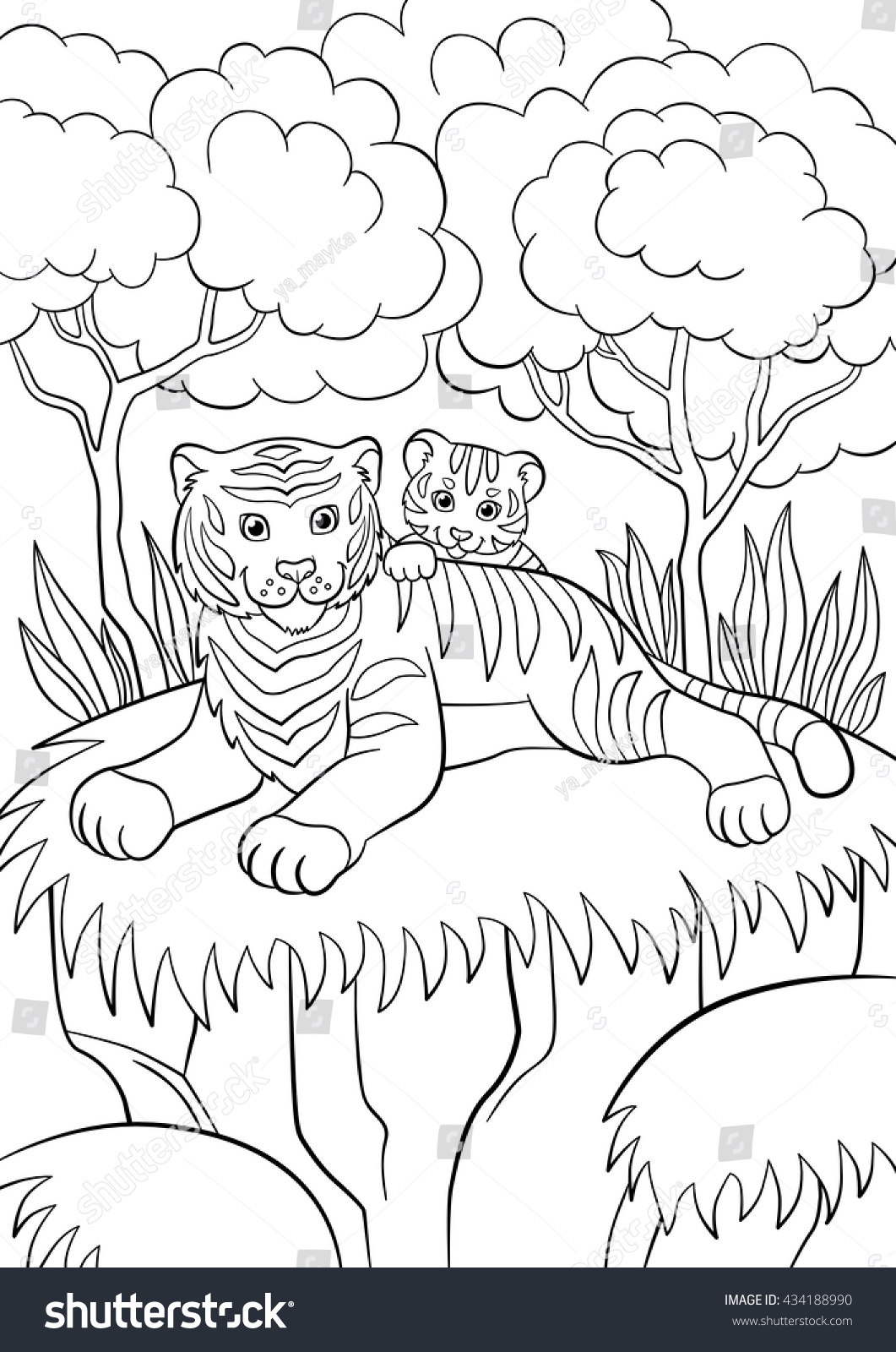 coloring pages wild animals smiling mother stock vector 434188990