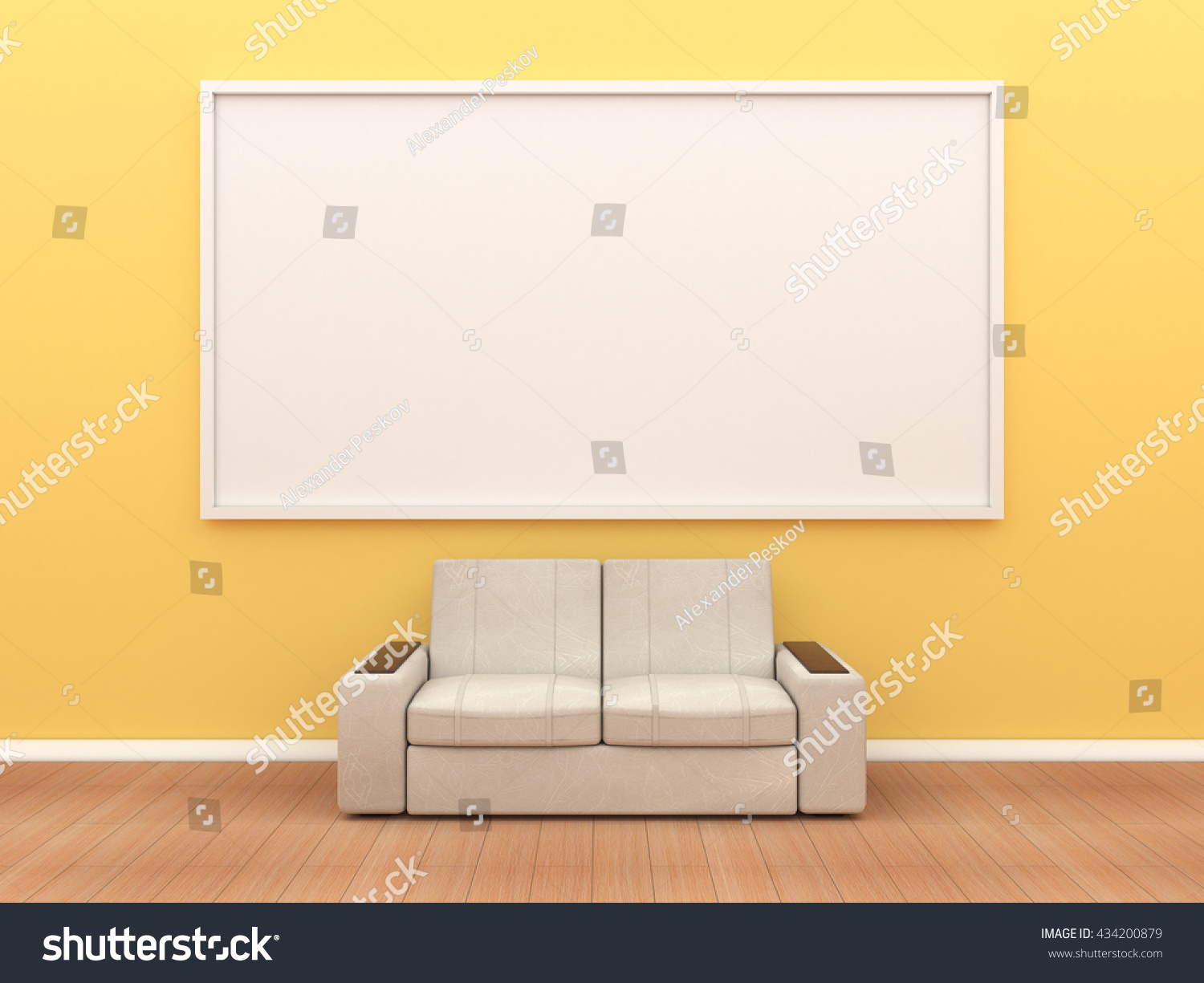 Sofa large frame on yellow wall stock illustration for Large a frame