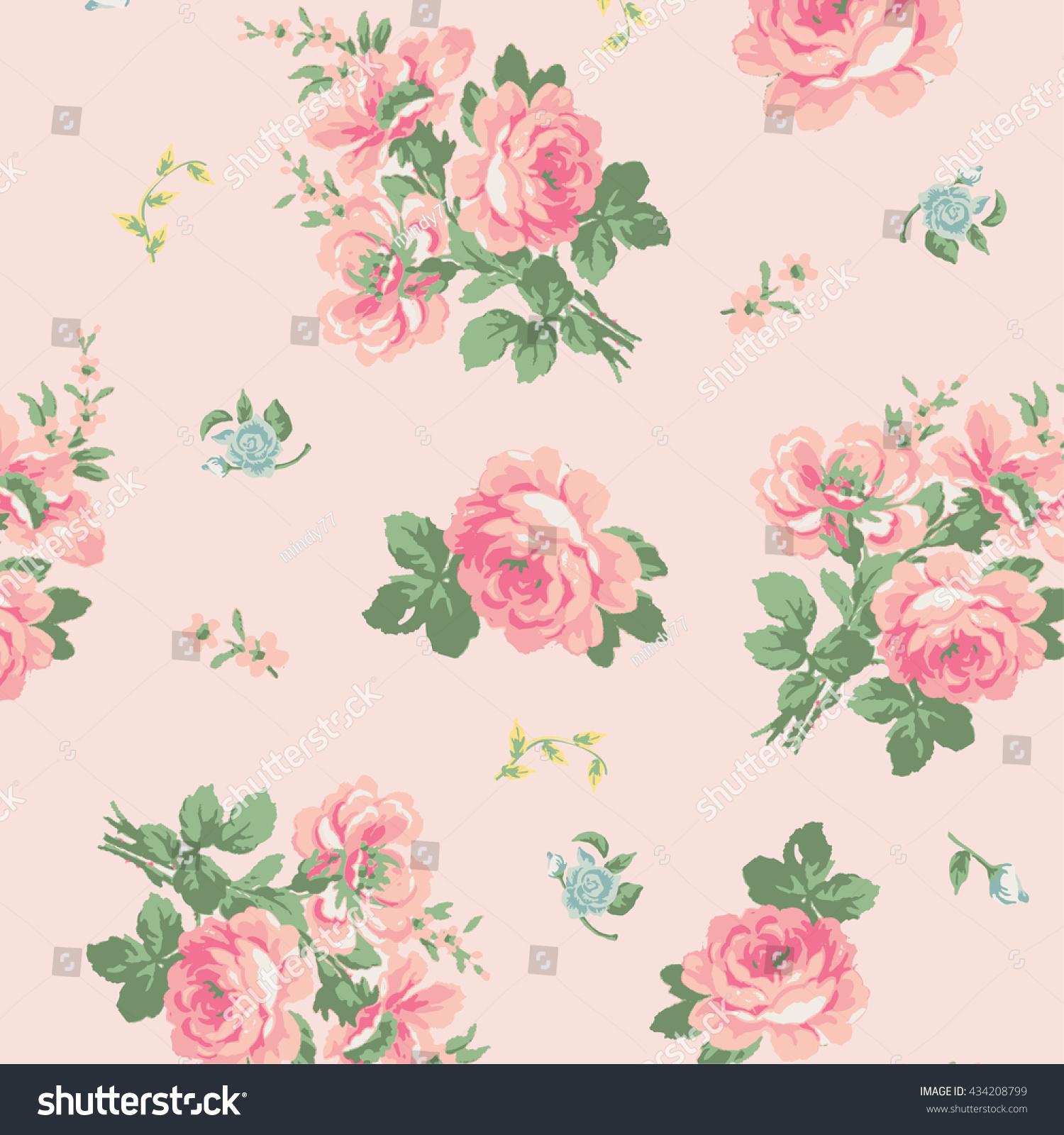 Wallpaper Vintage Pink Flower Pattern Stock Vector Royalty Free