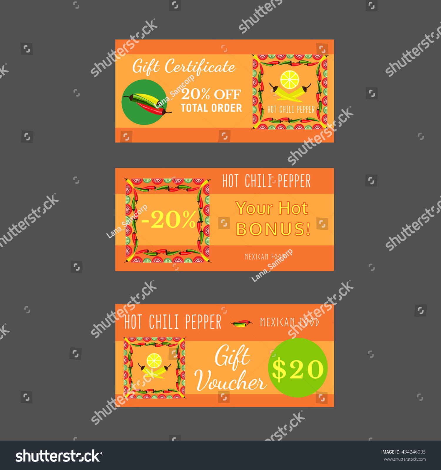 Set Templates Mexican Restaurant Gift Certificate Stock Vector