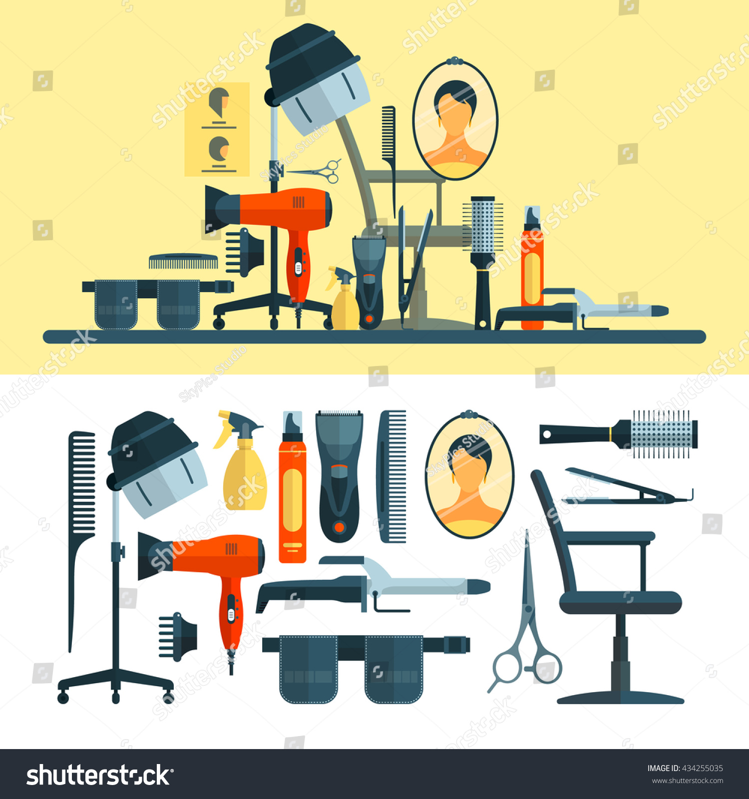 Hair salon chair isolated stock photos illustrations and vector art - Vector Set Of Hairdresser Objects And Tools Isolated On White Background Hair Salon Equipment Icons