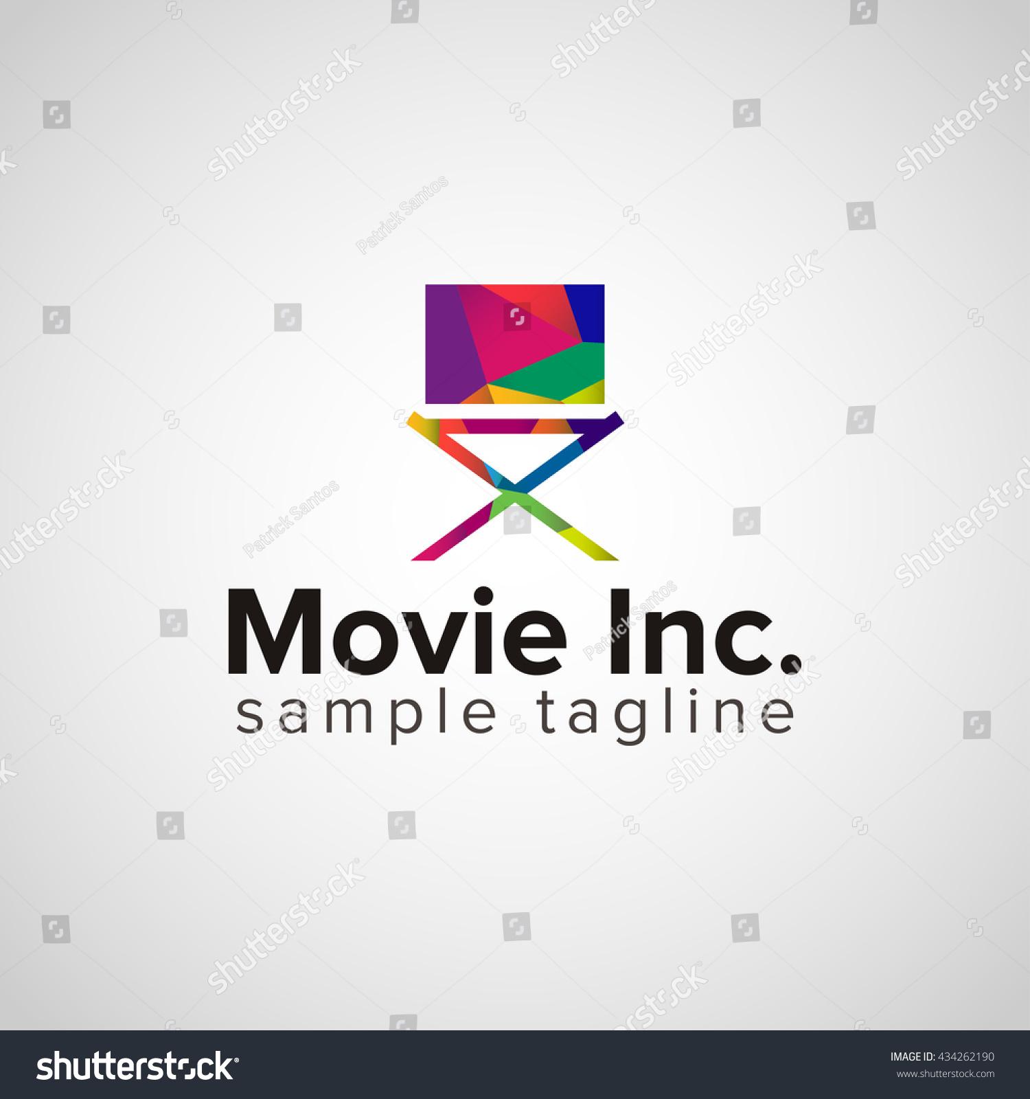 Colorful Cinema Director Chair Logo Design Stock Vector