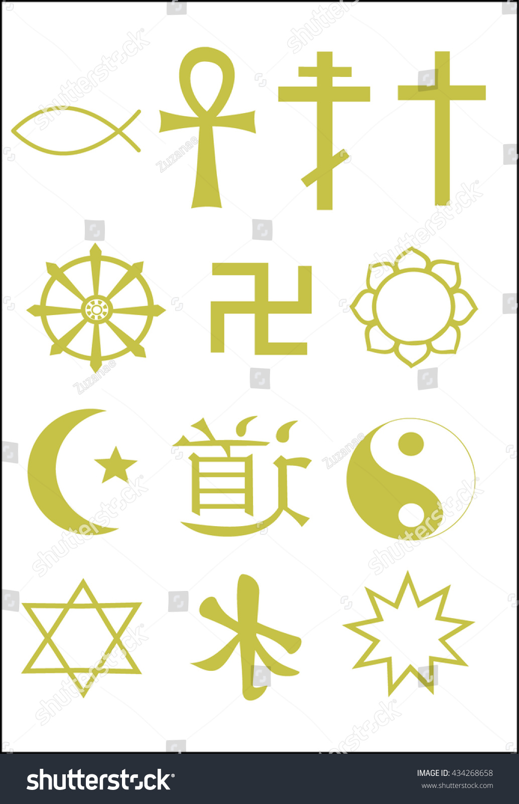 Symbols World Religions Golden Color Christianity Stock Vector