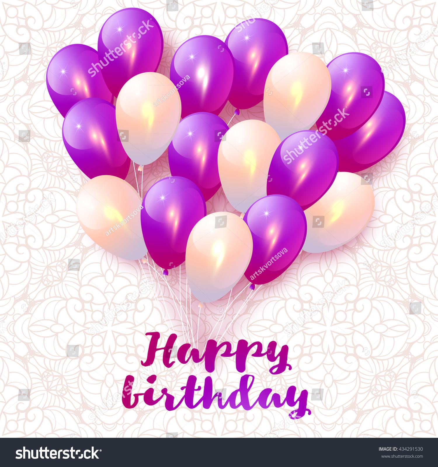 Happy Birthday Greeting Card Balloons Holiday Stock Vector 434291530