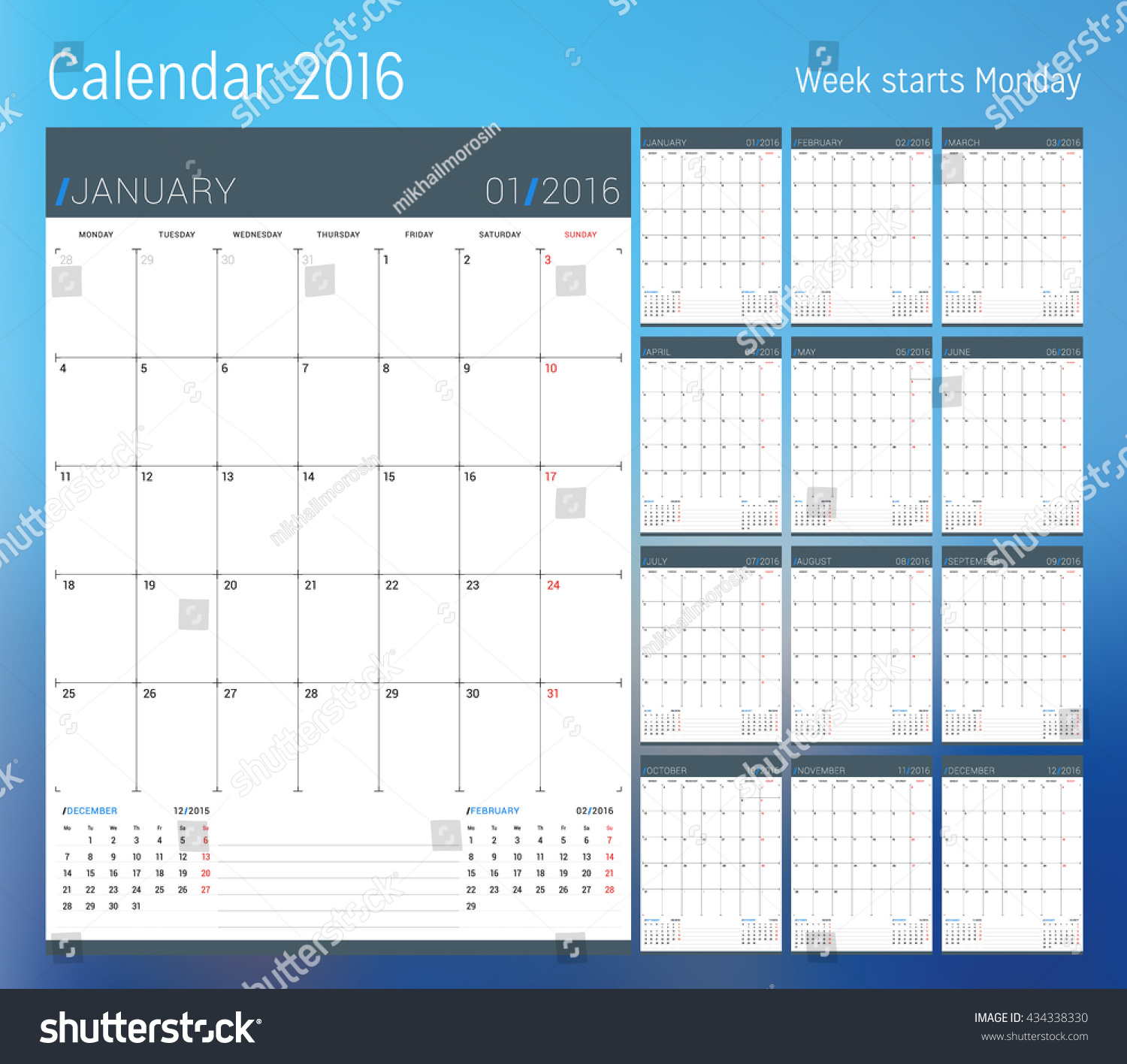 Calendar Pages Vector : Calendar year planner template vector stock