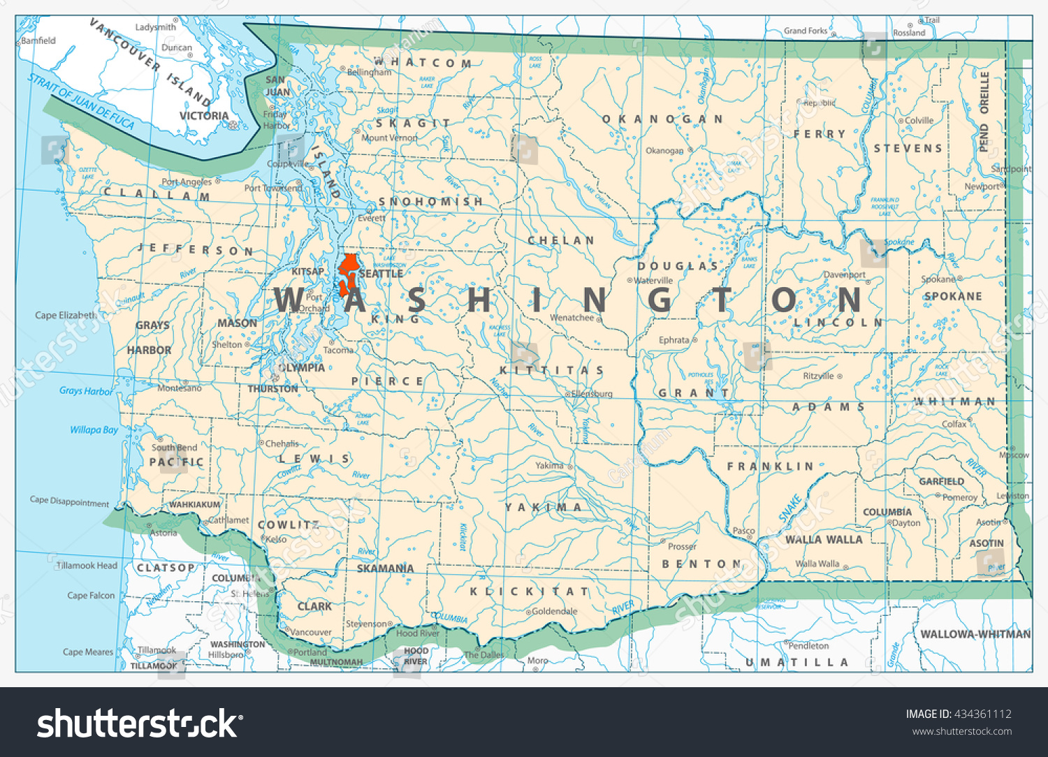 Washington State Detailed Map Rivers Lakes Stock Vector Royalty
