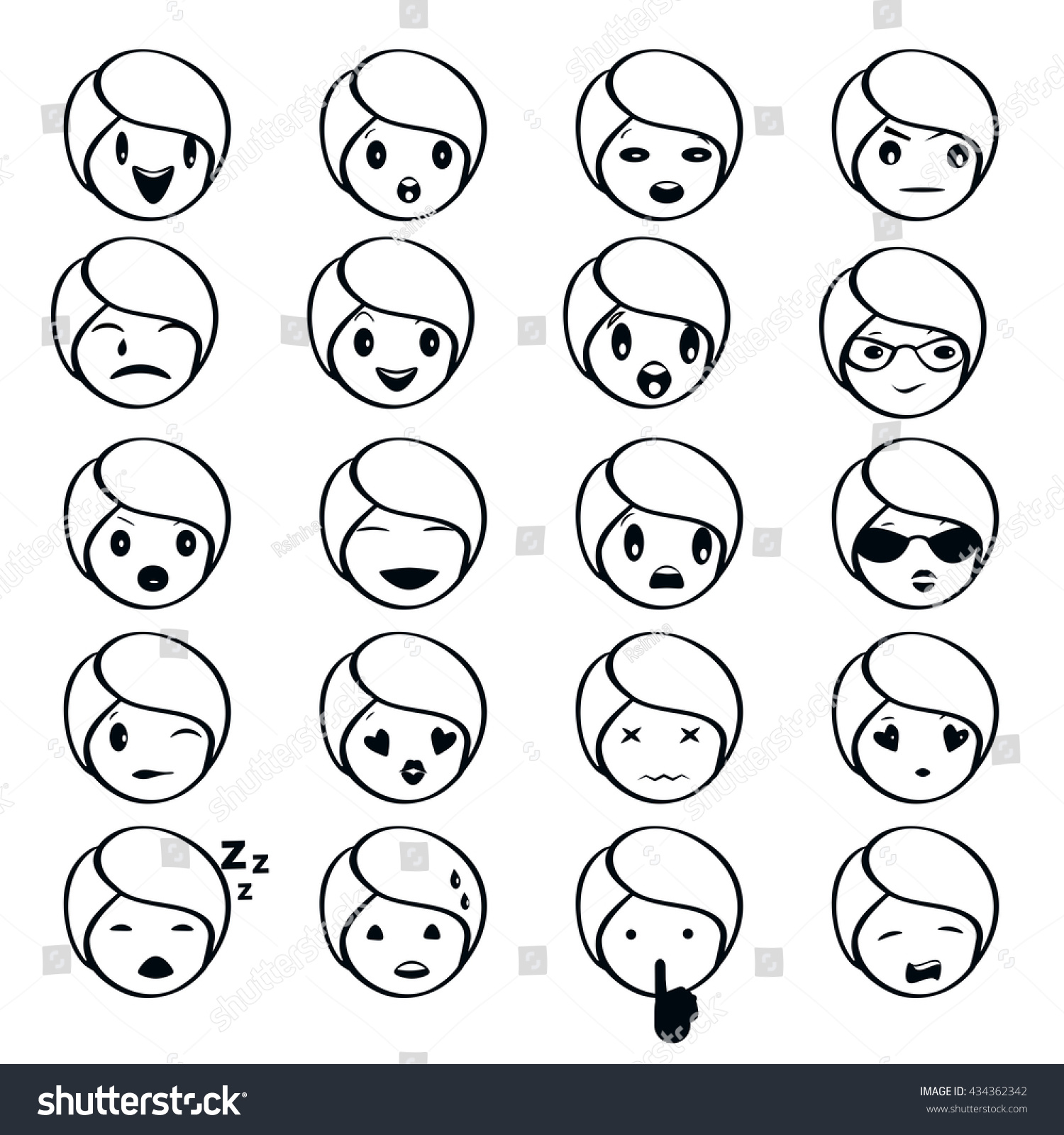 Emoticon set emojis outlines over transparent stock vector emojis in outlines over transparent background each in a separate sublayer for biocorpaavc Image collections