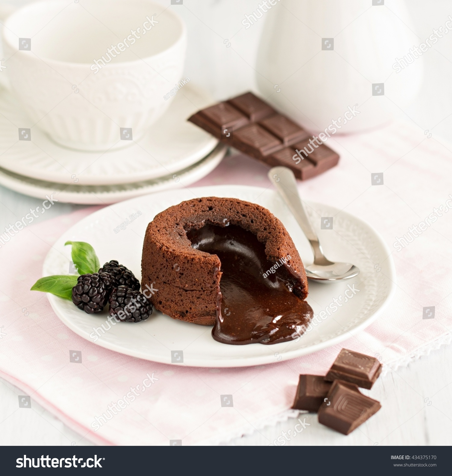 Warm Dessert Chocolate Fondant Lava Cake Stock Photo ...