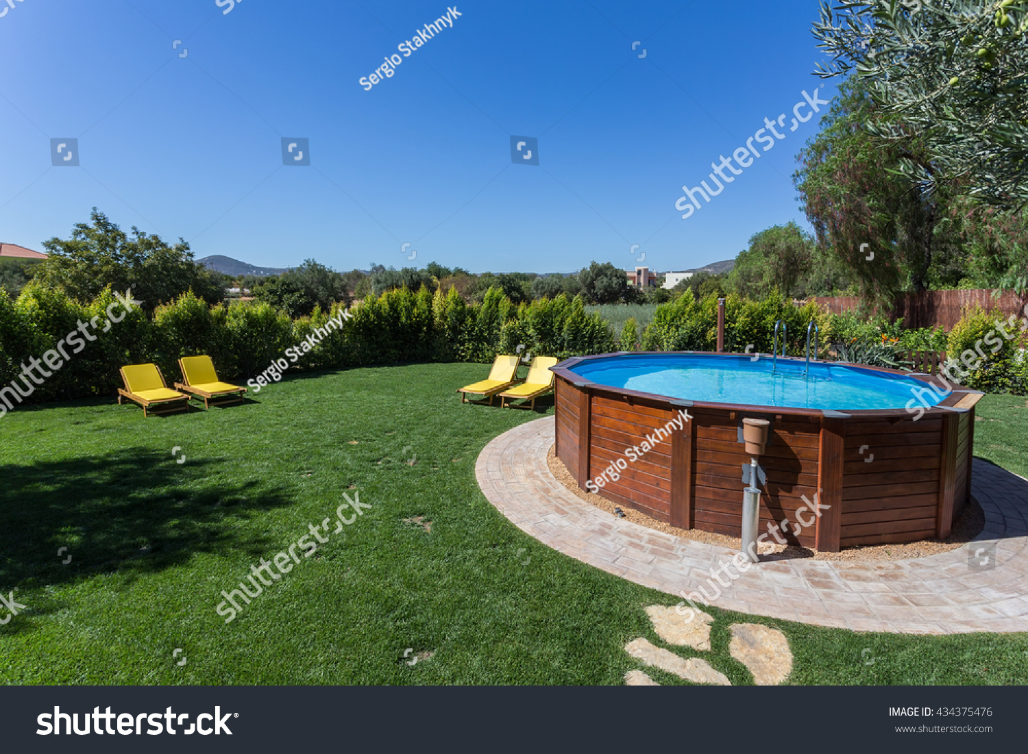 above ground pool sets on concrete stock photo 434375476