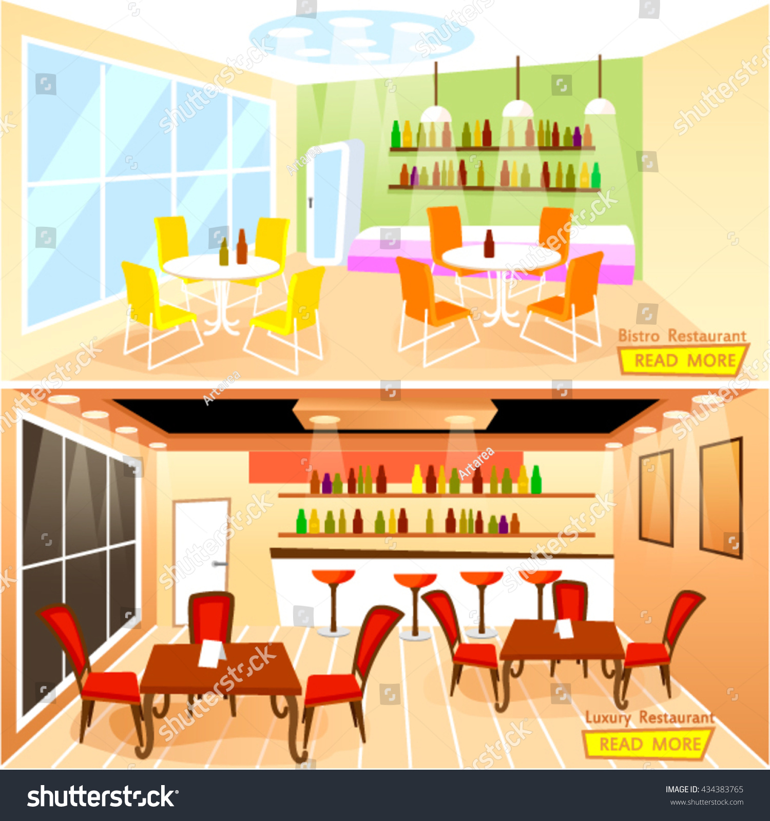Vector Illustration Of Luxury And Bistro Restaurant Bar Interior In Flat StyleTemplate For Horizontal