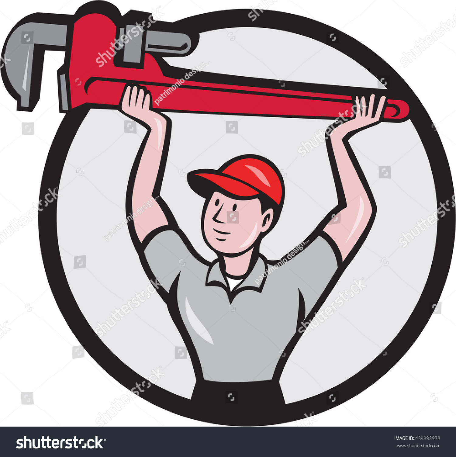 Illustration of a plumber lifting giant monkey wrench over head looking to the side viewed from front set inside circle on isolated background done in cartoon style