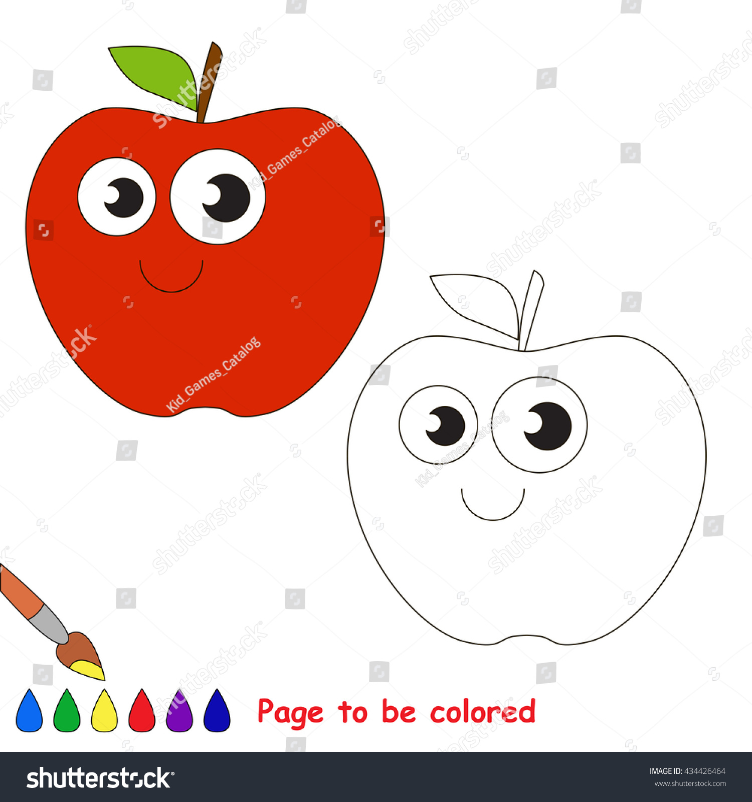 red apple be colored coloring book stock vector 434426464