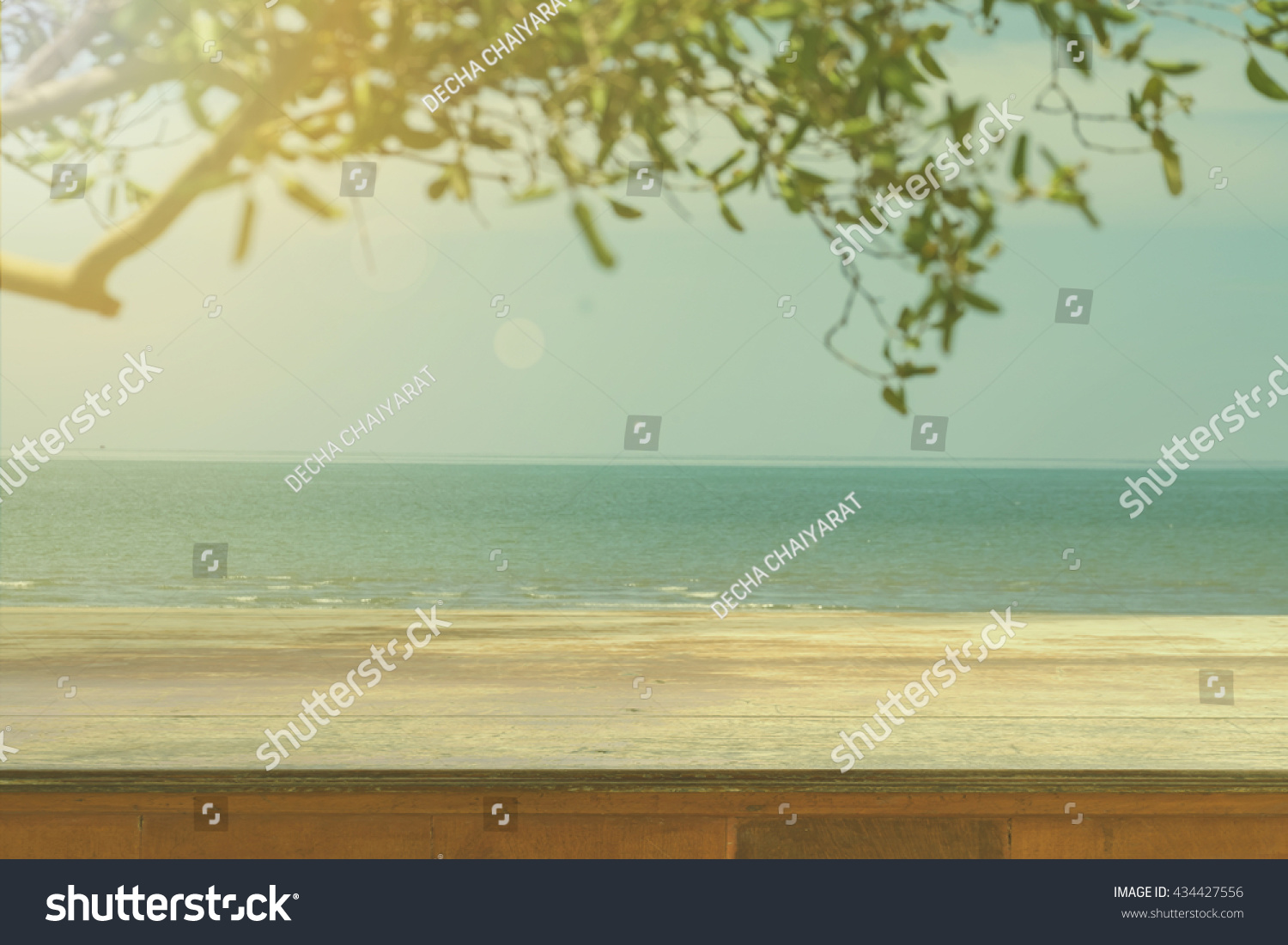 Wood Table Top On Blurred Blue Sea And White Sand Beach Background    Vintage Filter And