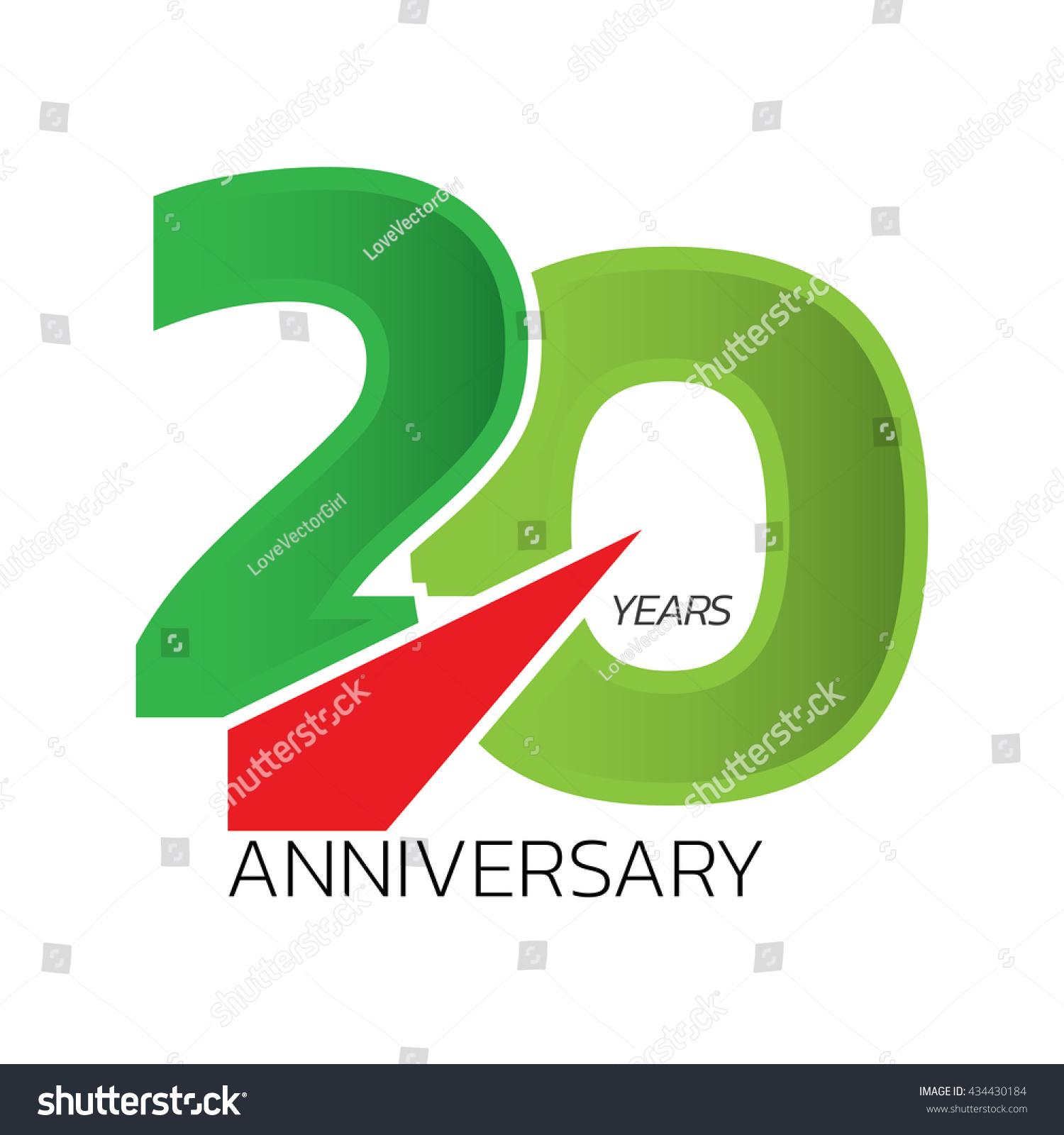 Celebrating Anniversary Symbol Green Color Tone Stock Vector