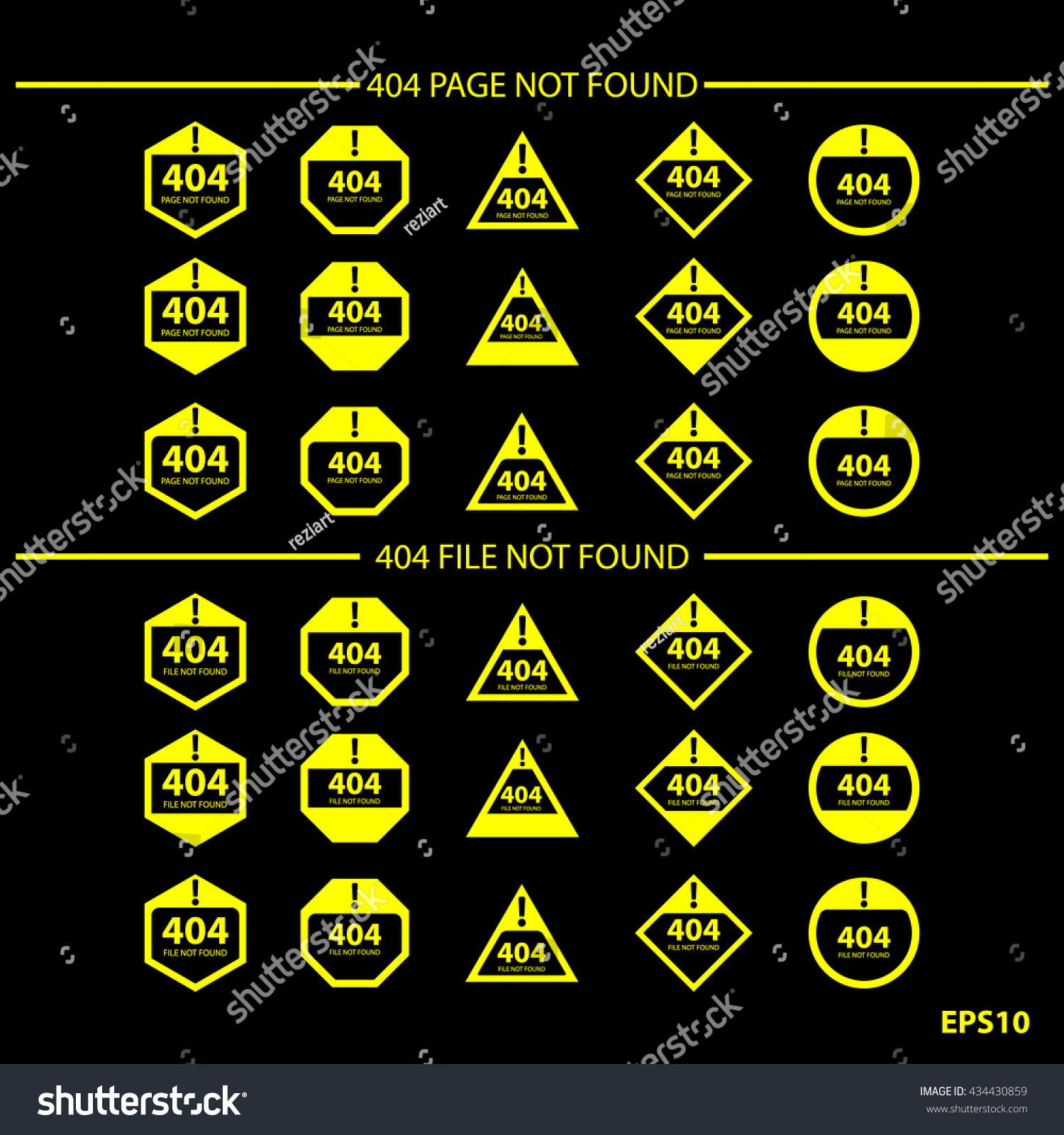 Sign Symbol Error 404 Page Not Stock Vector Royalty Free 434430859