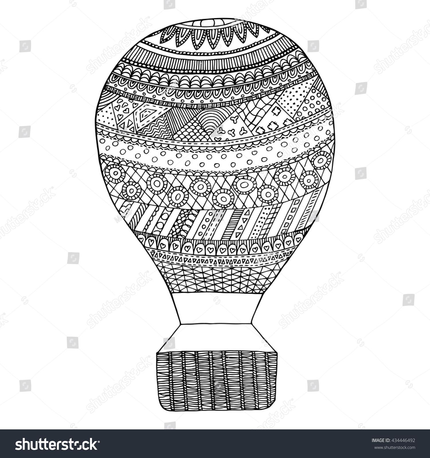 Hot Air Balloon Vector Zen Tangle Stock Vector 434446492 - Shutterstock