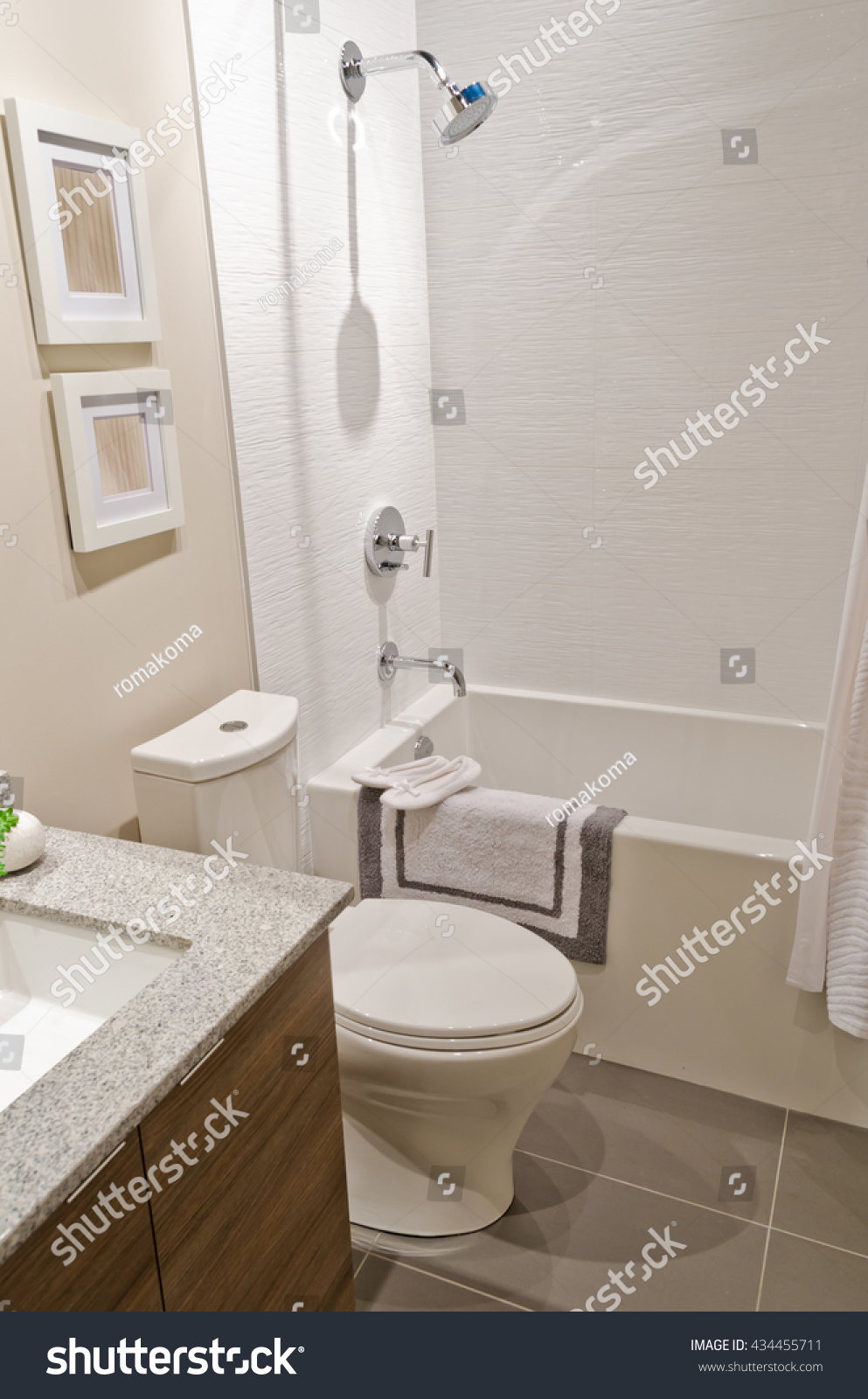 Nicely decorated modern washroom, bathroom with the toilet sit and ...