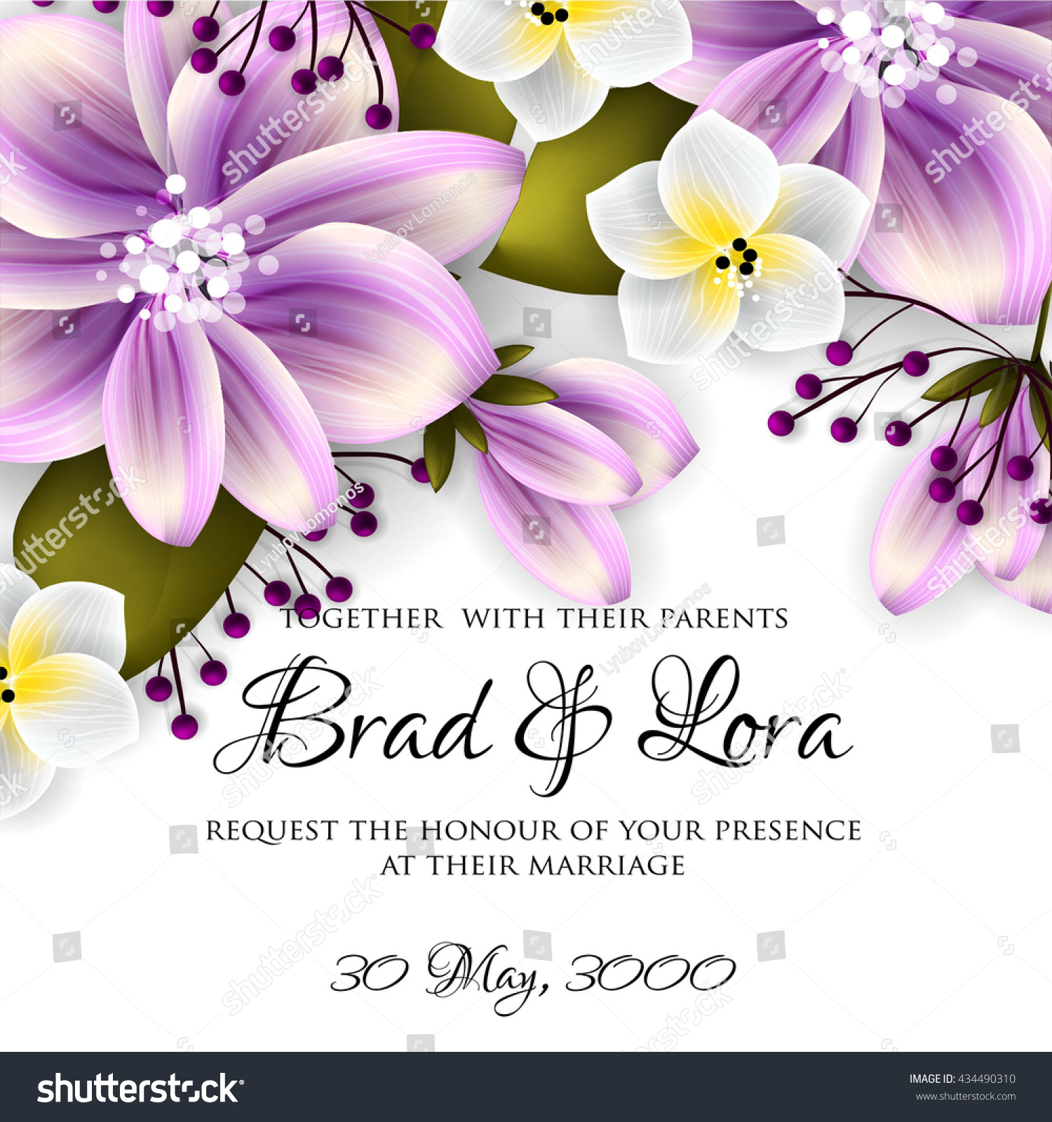 Wedding Invitation Tropic Polynesian Floral Background Stock Vector ...