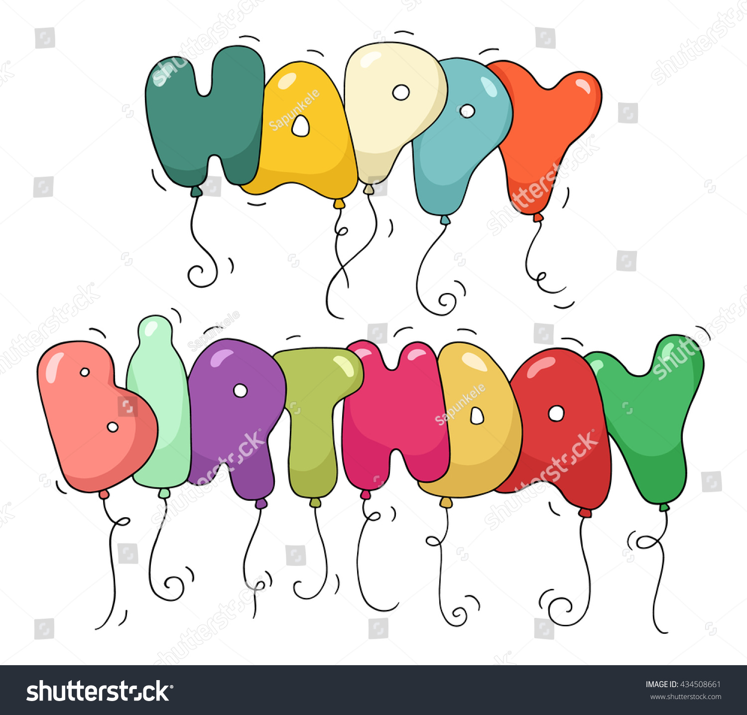 Cute Colorful Bubble Shaped Phrase Happy Stock Illustration