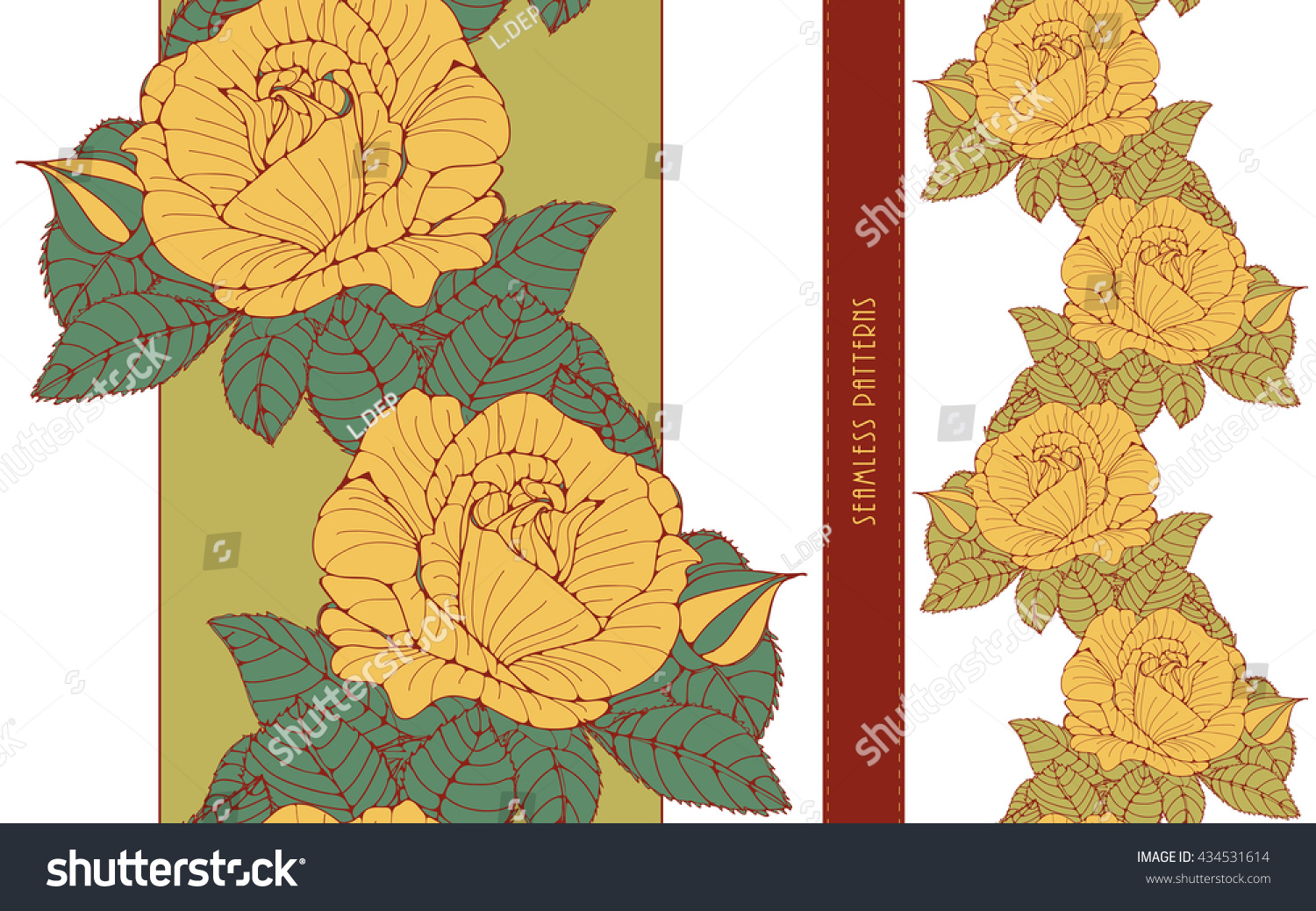 Set Romantic English Style Floral Wallpaper Stock Vector Royalty