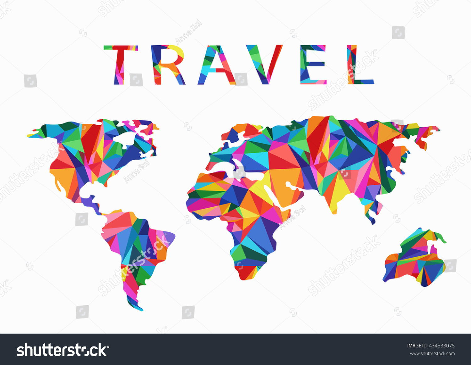 Travel creative concept a stylized world map made stock vector a stylized world map made of multi colored triangles gumiabroncs Image collections