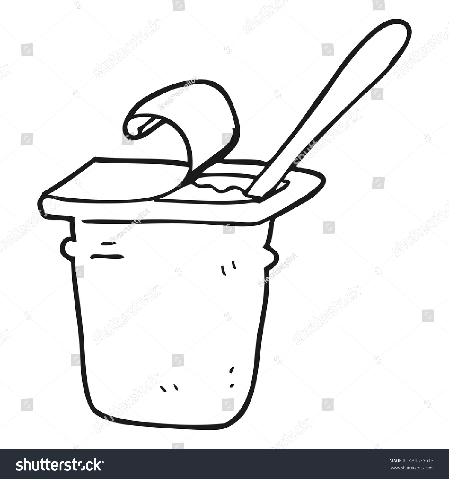 Yogurt Line Drawing : Freehand drawn black white cartoon yogurt stock vector