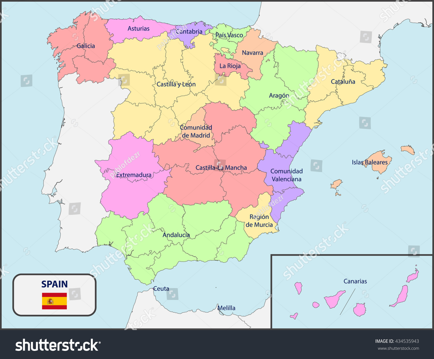 Political Map Spain Names Stock Vector Shutterstock - Spain political map