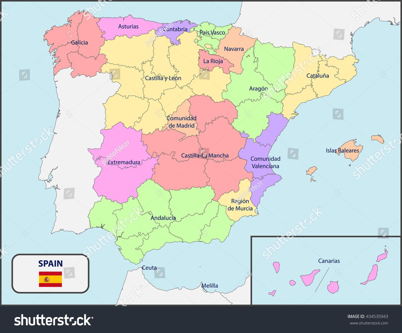 Political Map Spain Names Stock Vector Shutterstock - Spain political map
