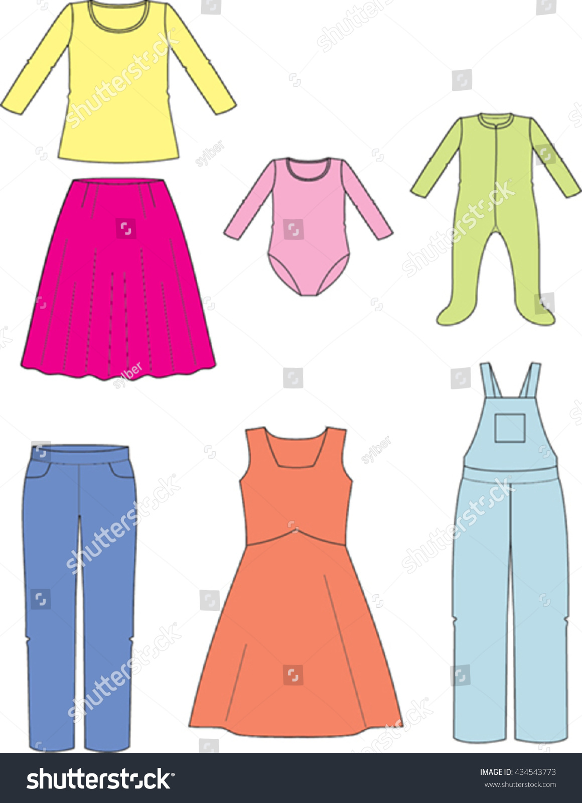 Vector Drawing Kids Dresses Stock Vector Royalty Free 434543773