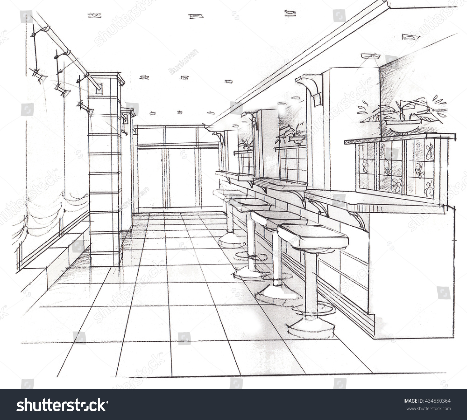Kitchen Counter Model For Painting Sketch