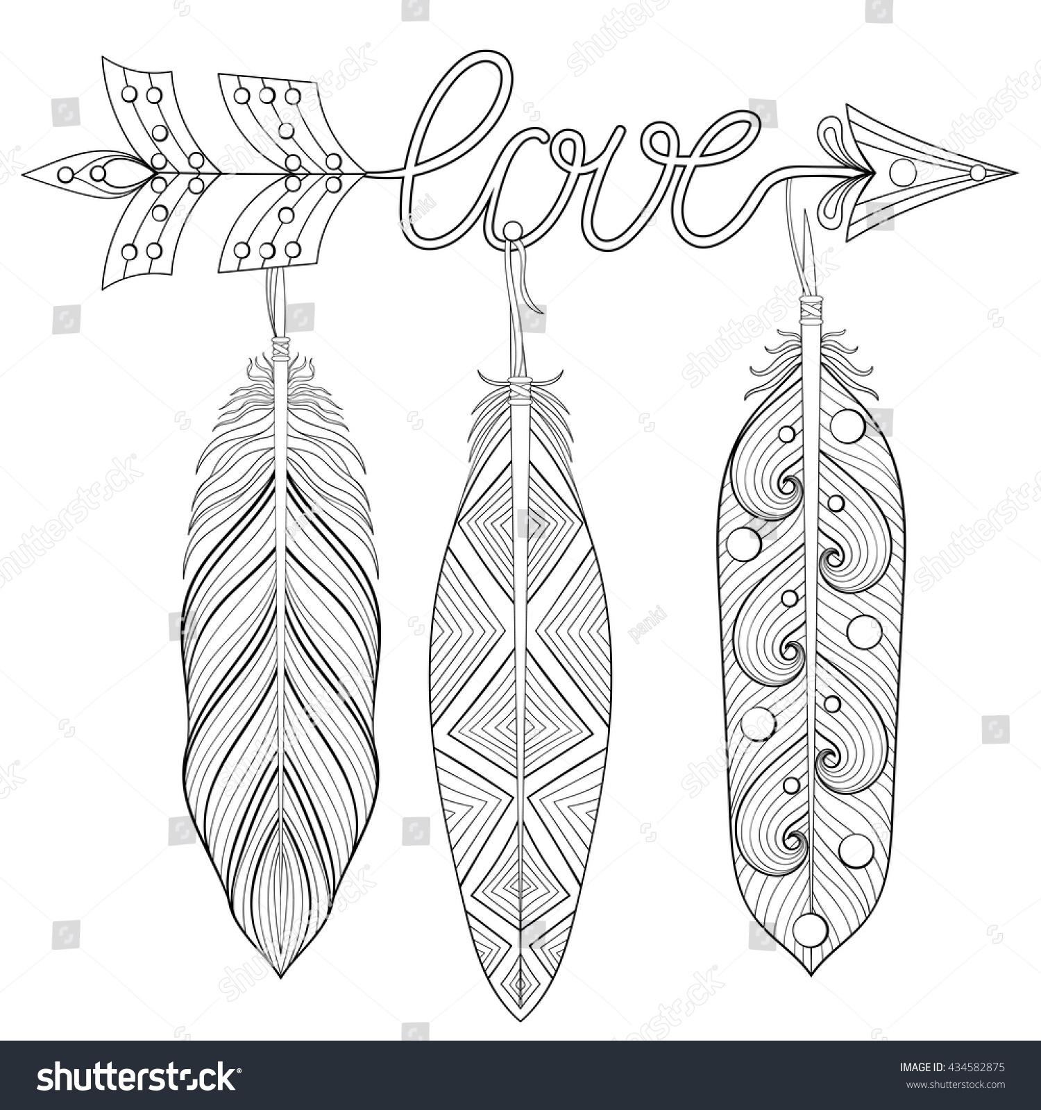 bohemian arrow hand drawn amulet wih word love and feathers