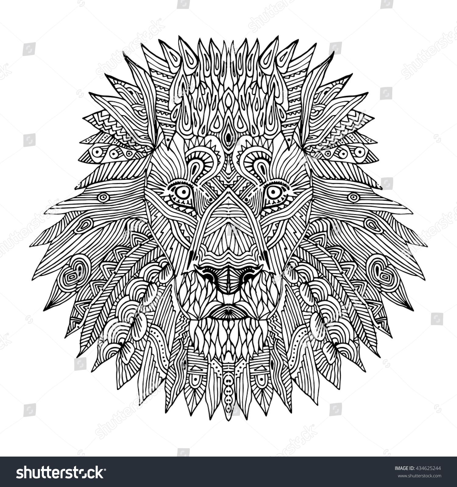 Coloring book for adults lion - Anti Stress Coloring Book Lion Zentangle Lion Hand Drawn Picture For Adult Antistress Coloring Page