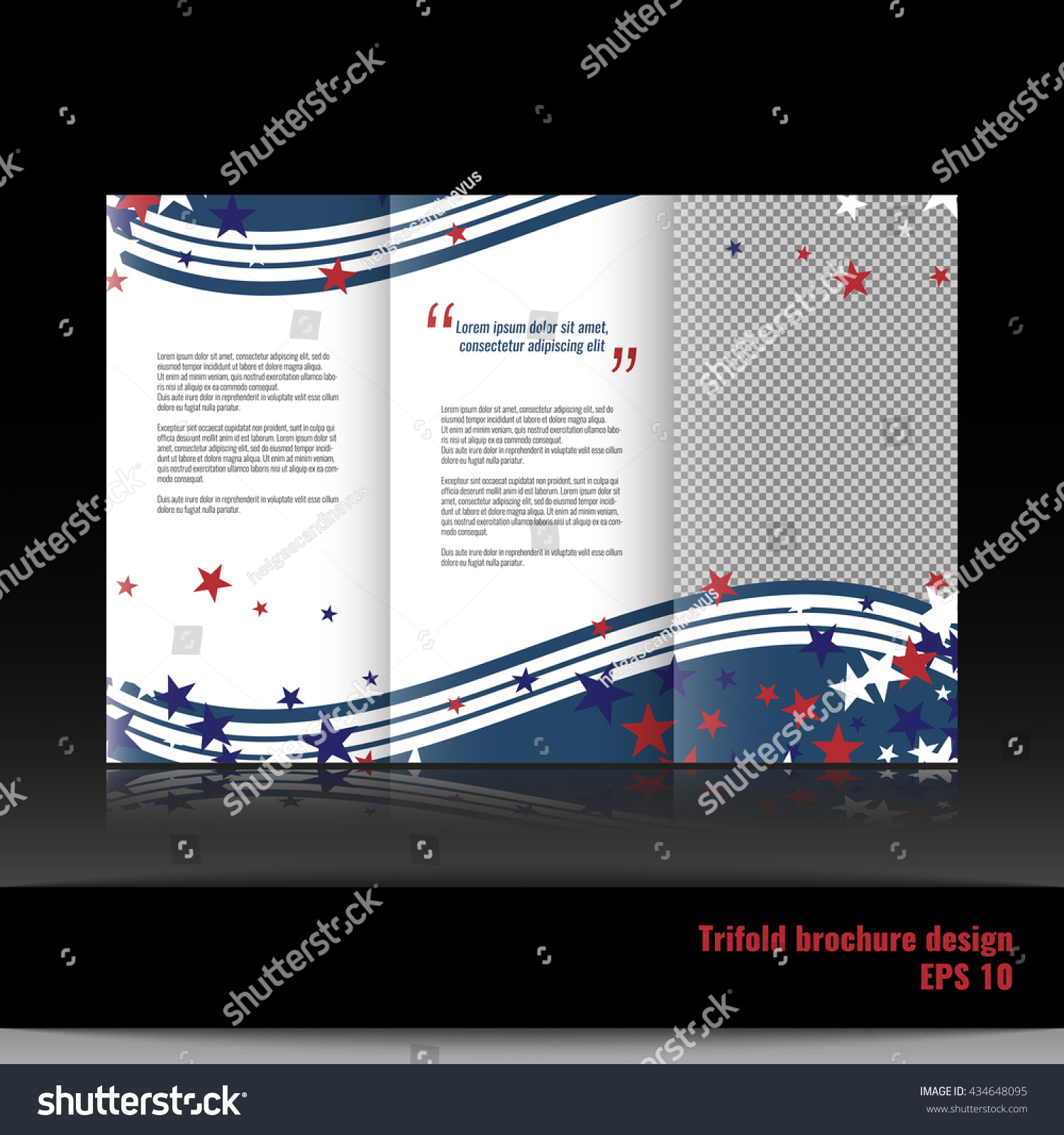 trifold business brochure template design with american theme background stars and stripes stock vector
