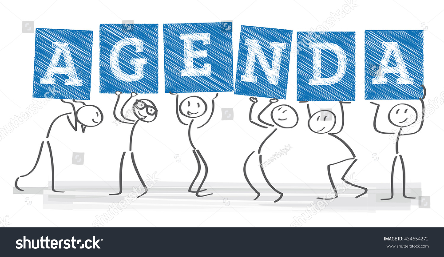 Six Stick Figure Holding Signs Word Vector 434654272 – Agenda Word