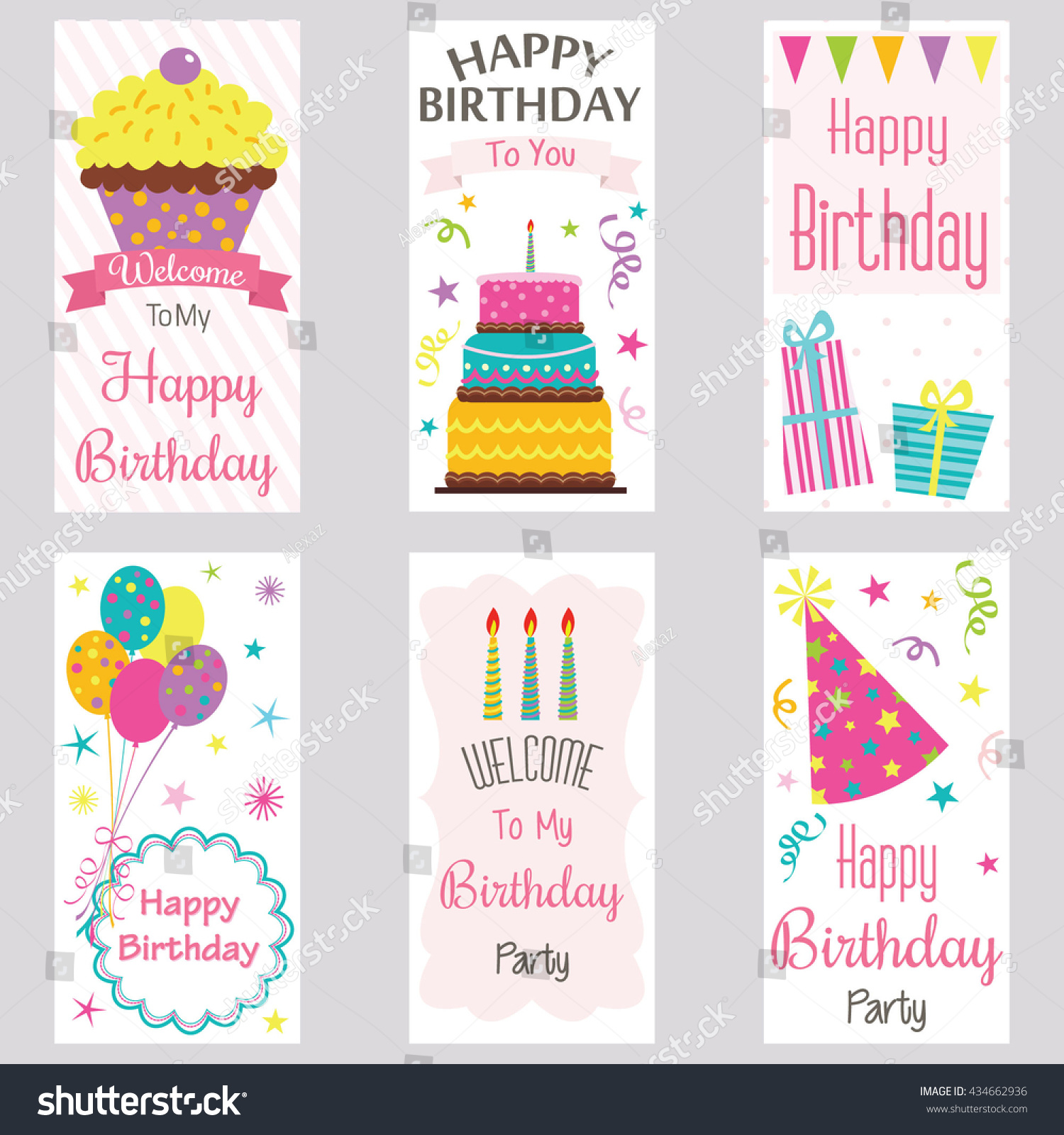 Happy Birthday Invitation Cardbirthday Greeting Cardwelcome Stock ...