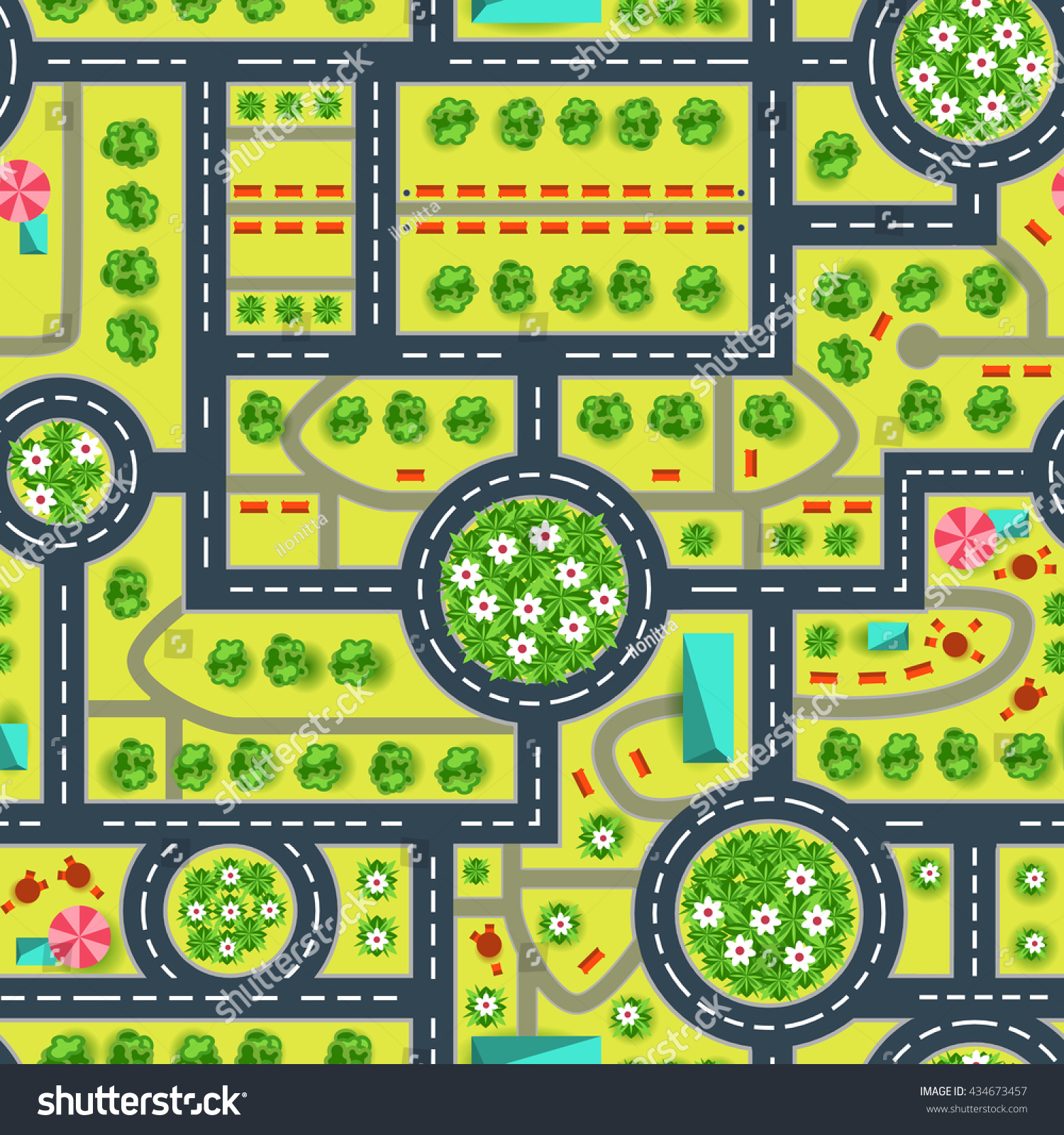 Royalty-free Map of a top view from the city. Road… #434673457 Stock ...