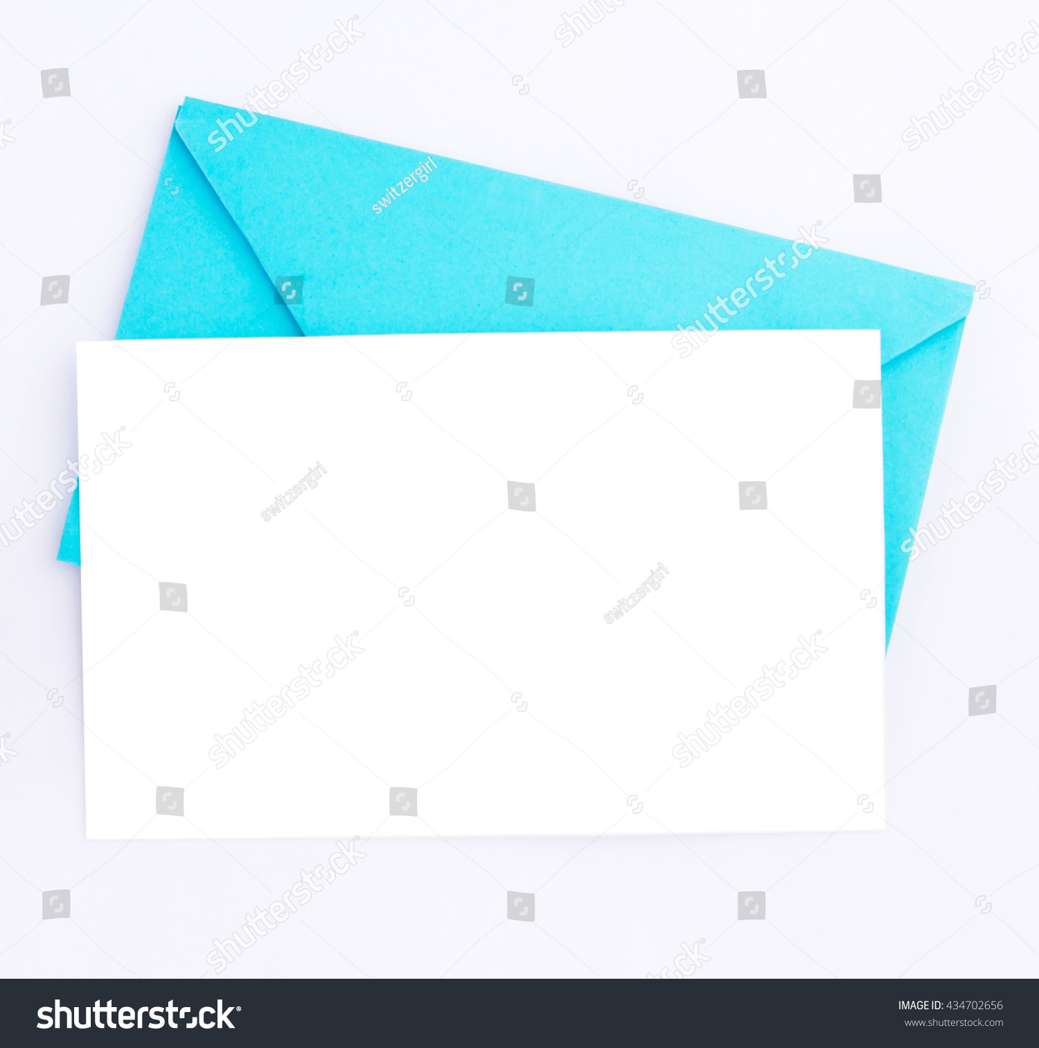 Blue Envelope White Blank Card Wedding Stock Photo (Edit Now ...