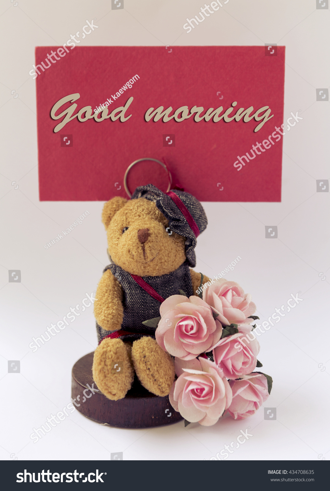 good morning card teddy bear rose stock photo edit now 434708635