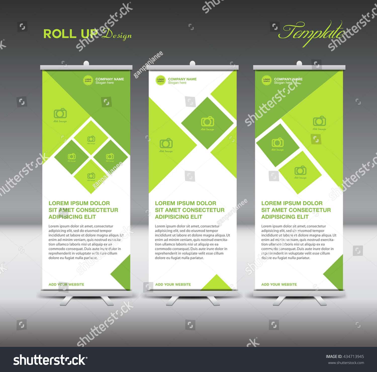 green roll up banner template display advertisement vector green roll up banner template display advertisement vector illustration flyer design