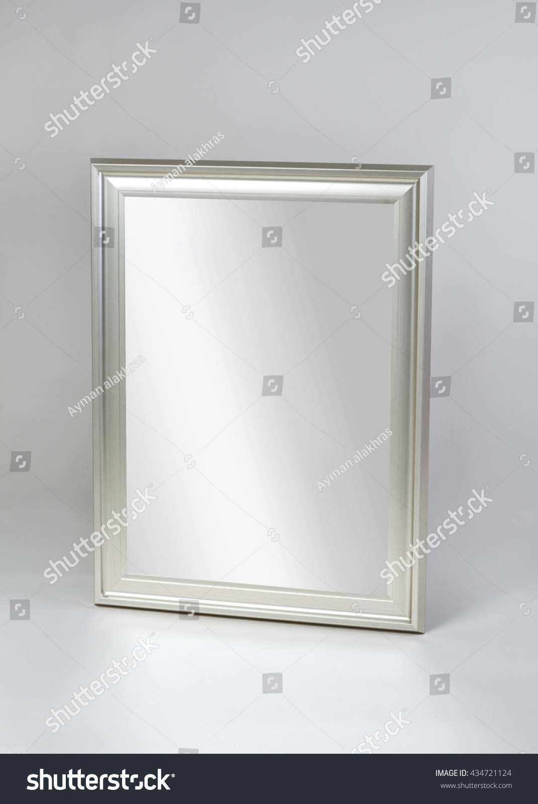 framed modern mirror. Small Silver Framed Modern Mirror Isolated On Gray Background R