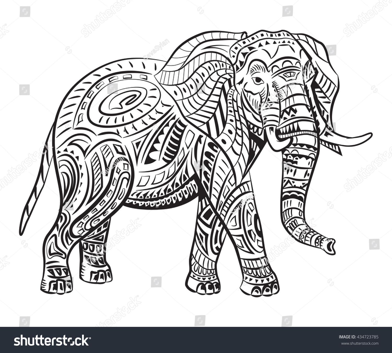 Handpainted Elephant Ornament Tattoo Elephant Patterns Stock Vector ...