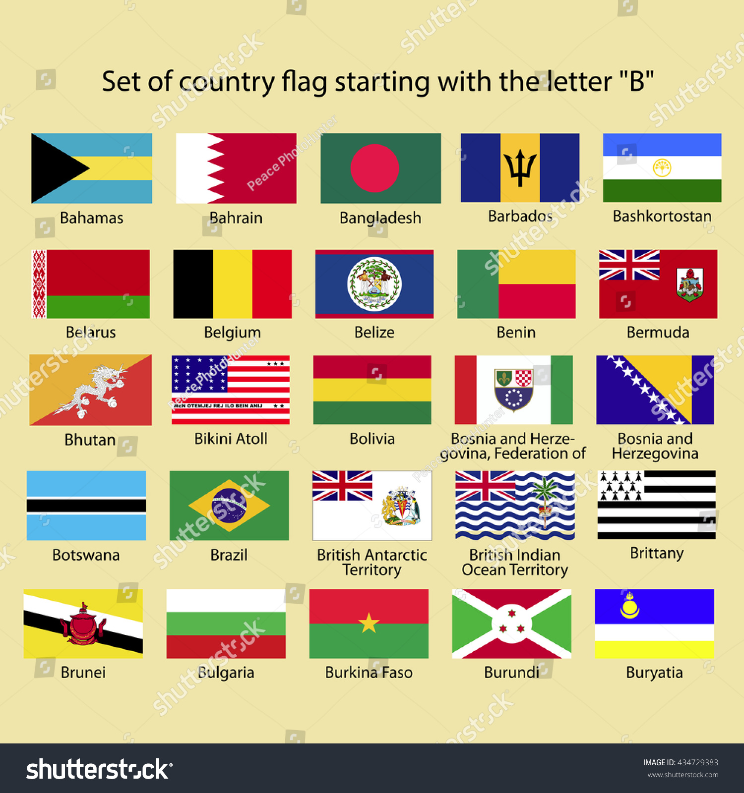 Royalty free Set of country flag starting with the…
