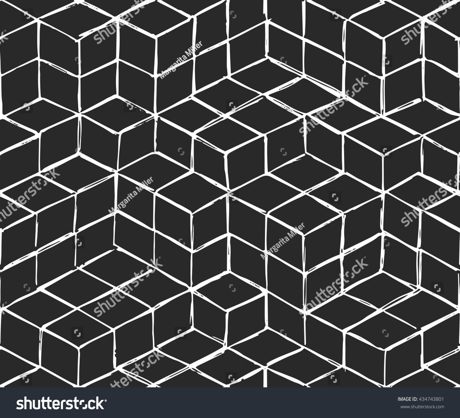 Abstract Geometric Seamless Pattern Isometric Cubes Stock ...