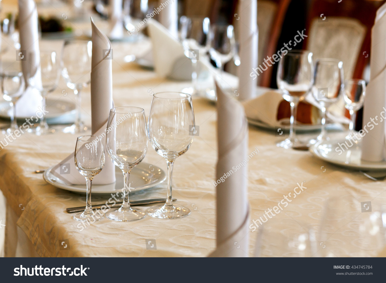 Stylish Empty Glasses And Plates At Setting Elegant Table For Wedding Reception Catering In