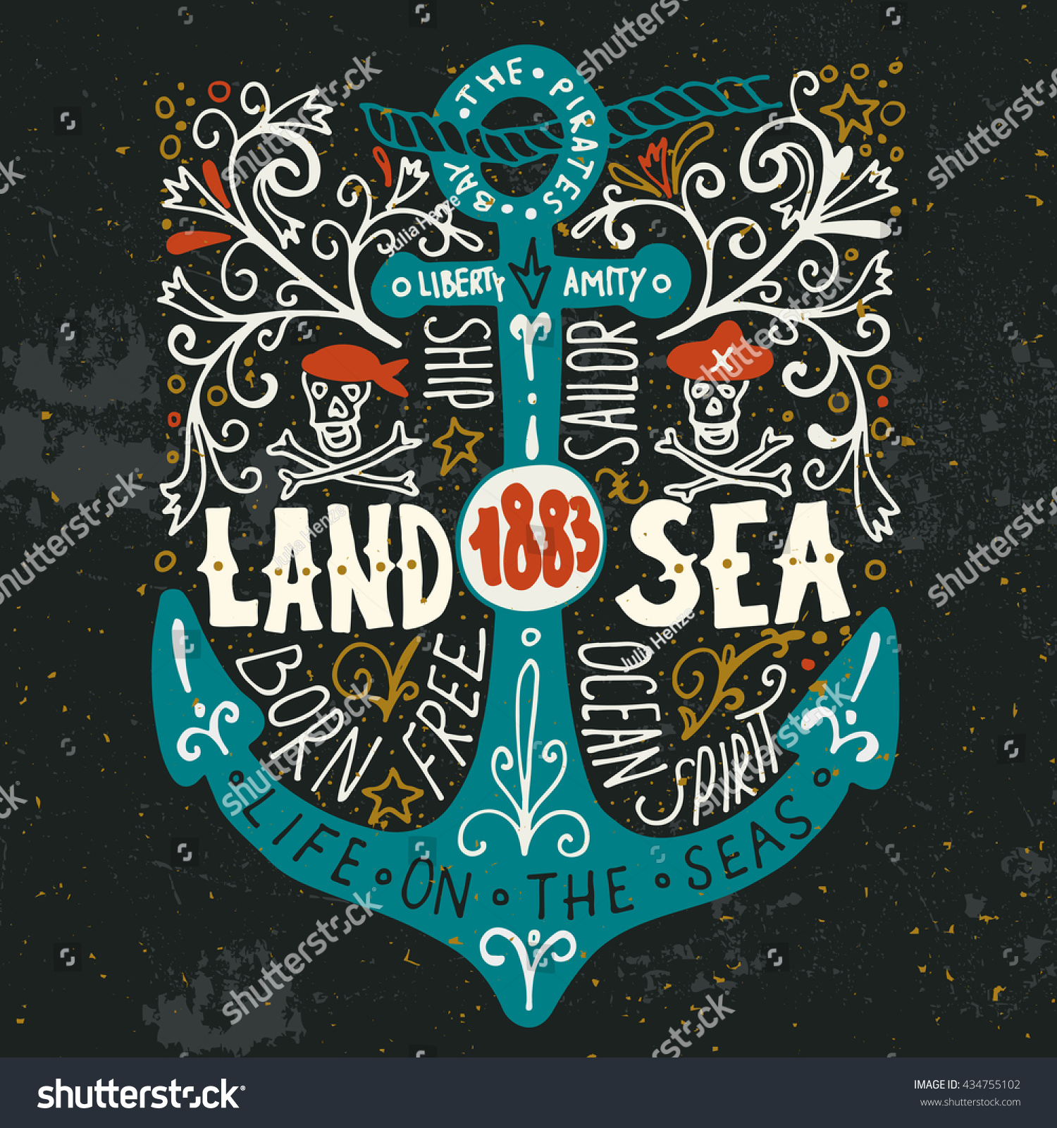 Land Sea Hand Drawn Nautical Vintage Stock Vector