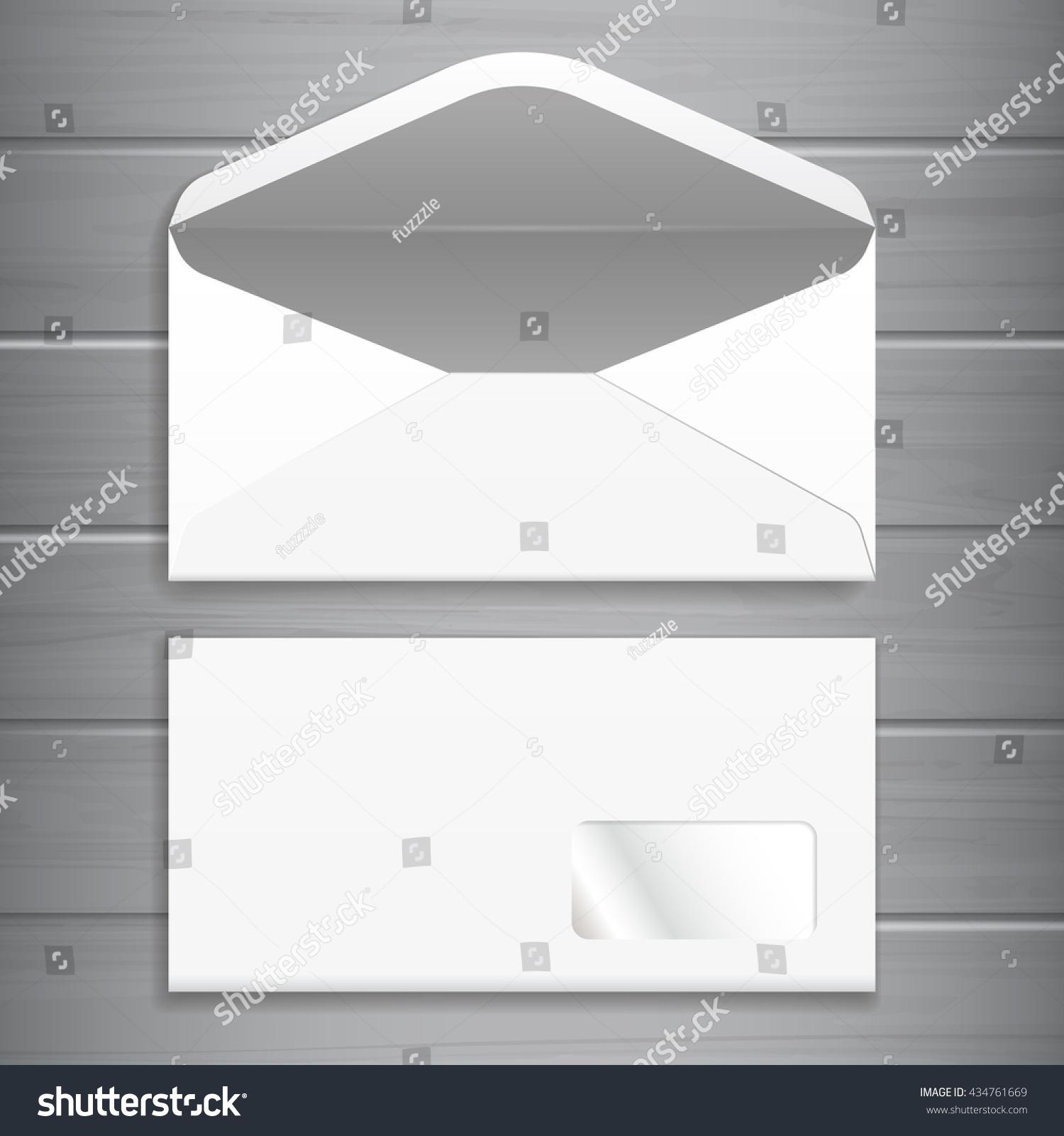 White Blank Envelope Template Advertising Corporate Stock Vector