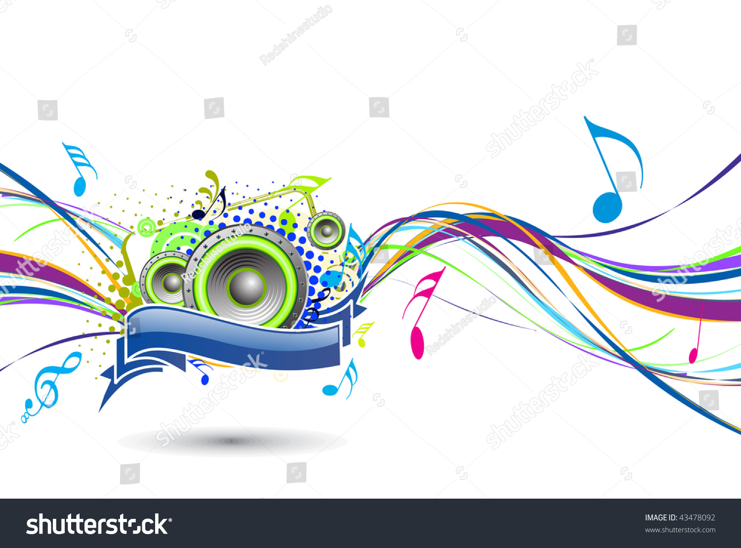 Abstract Rainbow Wave Line Music Note Stock Vector
